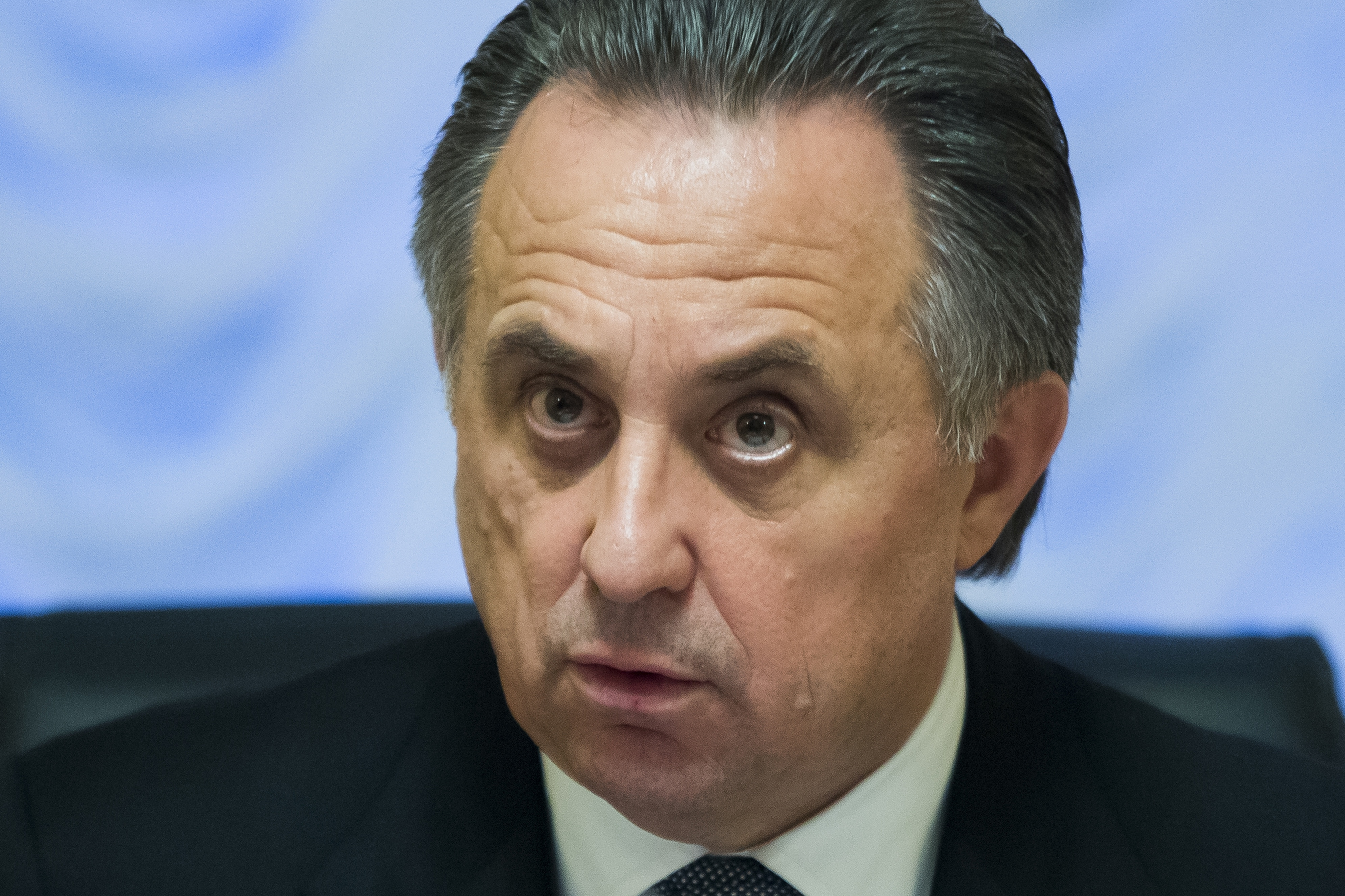 """FILE - A Friday, Nov. 13, 2015 photo from files showing Russian Sports Minister Vitaly Mutko speaking at his meeting with the media in Moscow. According to an account of the meeting posted by the ministry, Mutko said Russia would """"follow all recommendatio"""