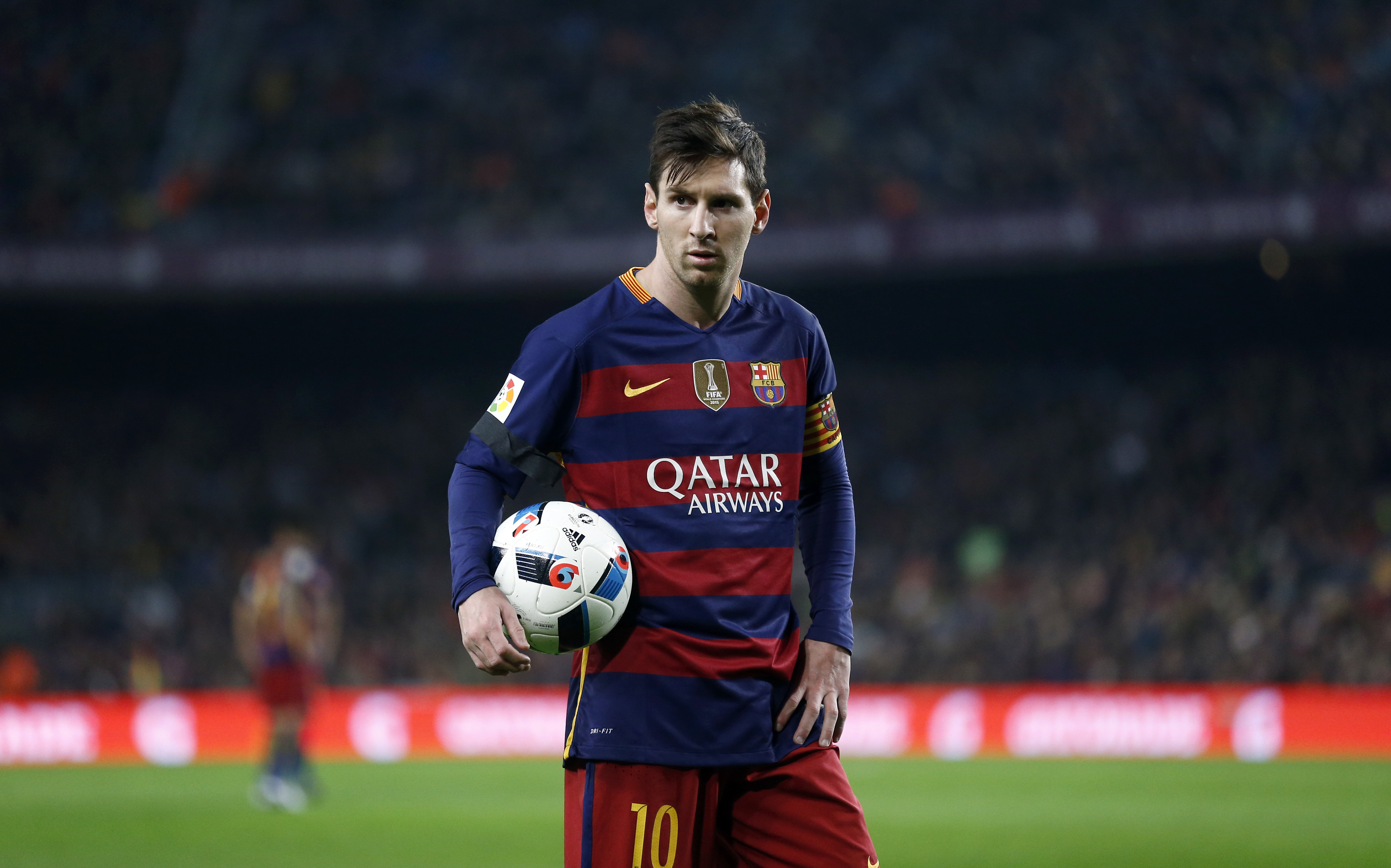 FC Barcelona's Lionel Messi holds the ball during a quarterfinal, second leg, Copa del Rey soccer match against Athletic Bilbao at the Camp Nou stadium in Barcelona, Spain, Wednesday, Jan. 27, 2016. (AP Photo/Manu Fernandez)