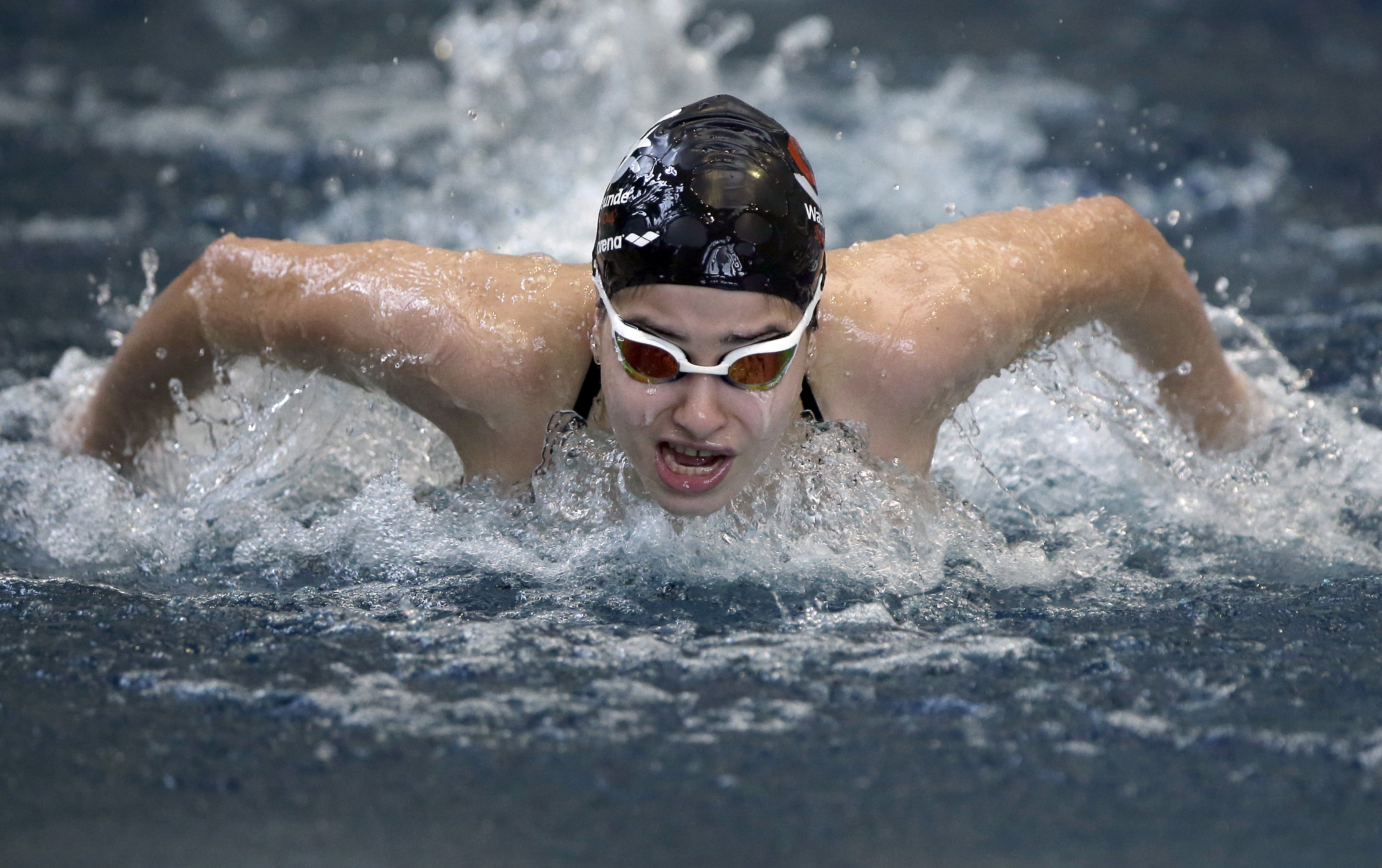 FILE - In this Nov. 9, 2015 file photo Yusra Mardini from Syria swims during a training session in Berlin, Germany.  (AP Photo/Michael Sohn, file)