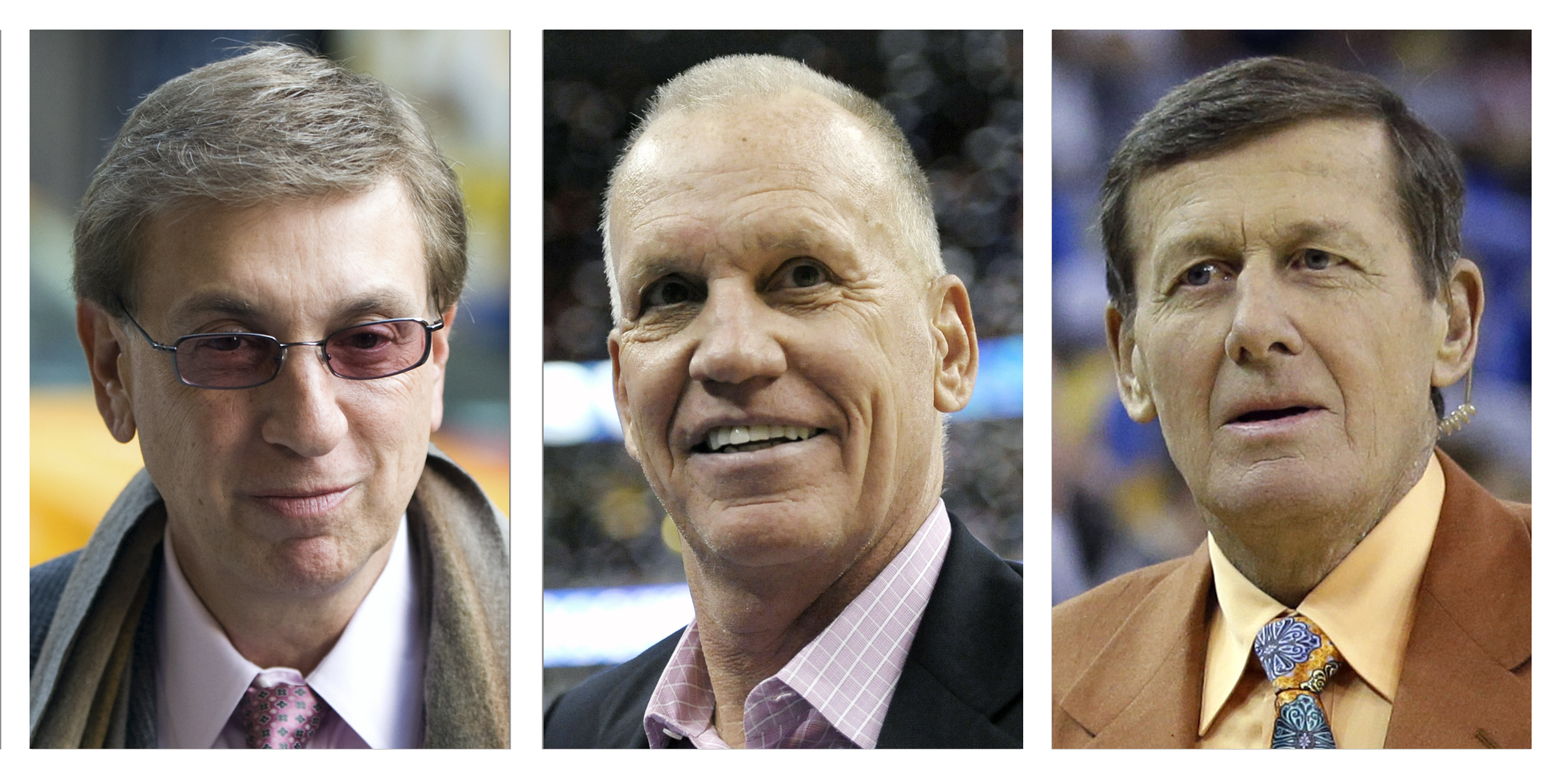 FILE - This combination of file photos shows Marv Albert, from left, in 2009, Doug Collins in 2013 and Craig Sager in 2016. Albert will call Olympic basketball this summer for the first time since 1996. NBC announced its hoops commentator teams for Rio on