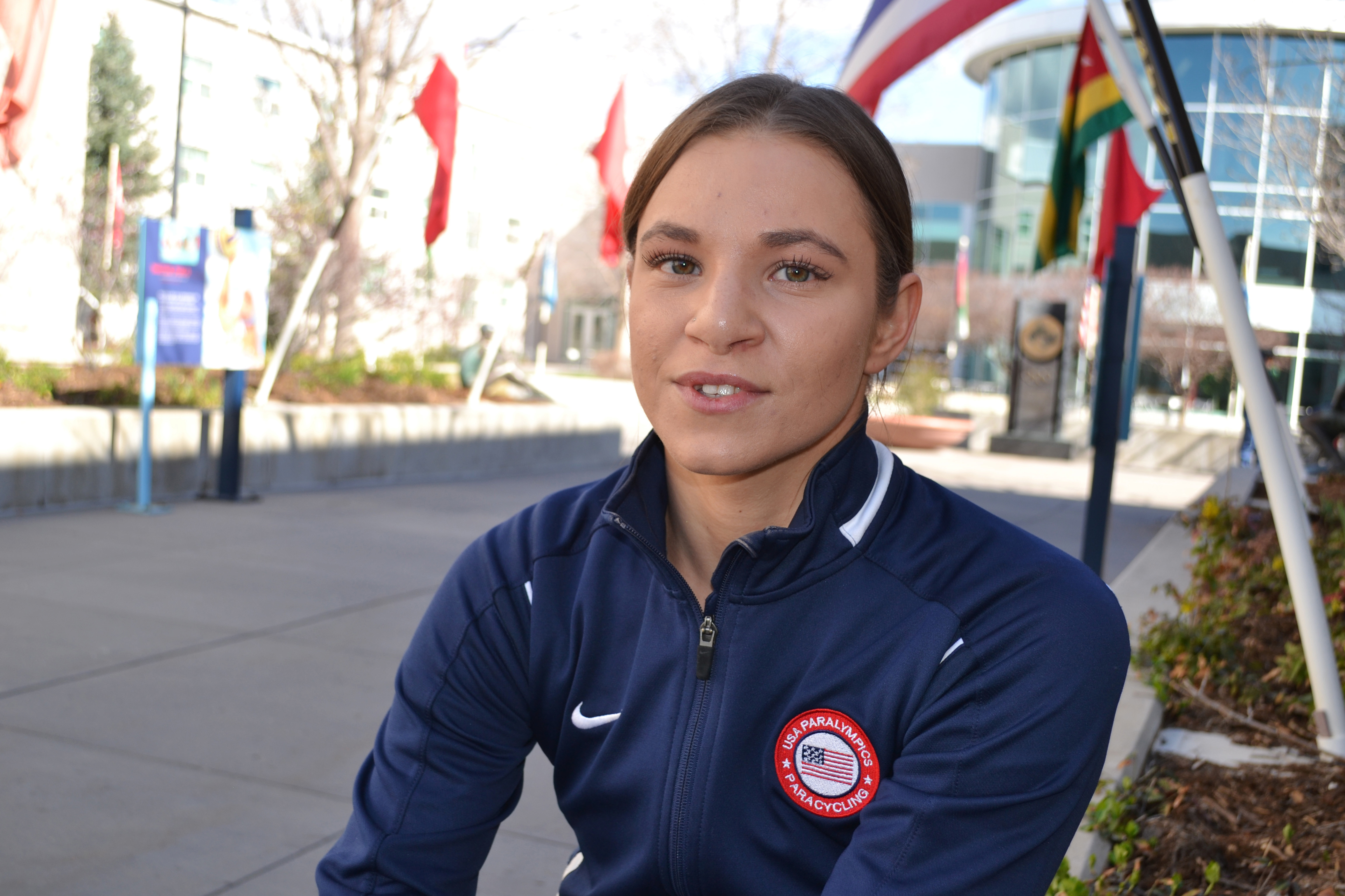 In this April 12, 2016 photo, Paralympian Oksana Masters talks during an interview at the Olympic Training Center, in Colorado Springs, Colo. Masters was adopted out of a Ukrainian orphanage by an American woman nearly two decades ago. The malnourished Ma