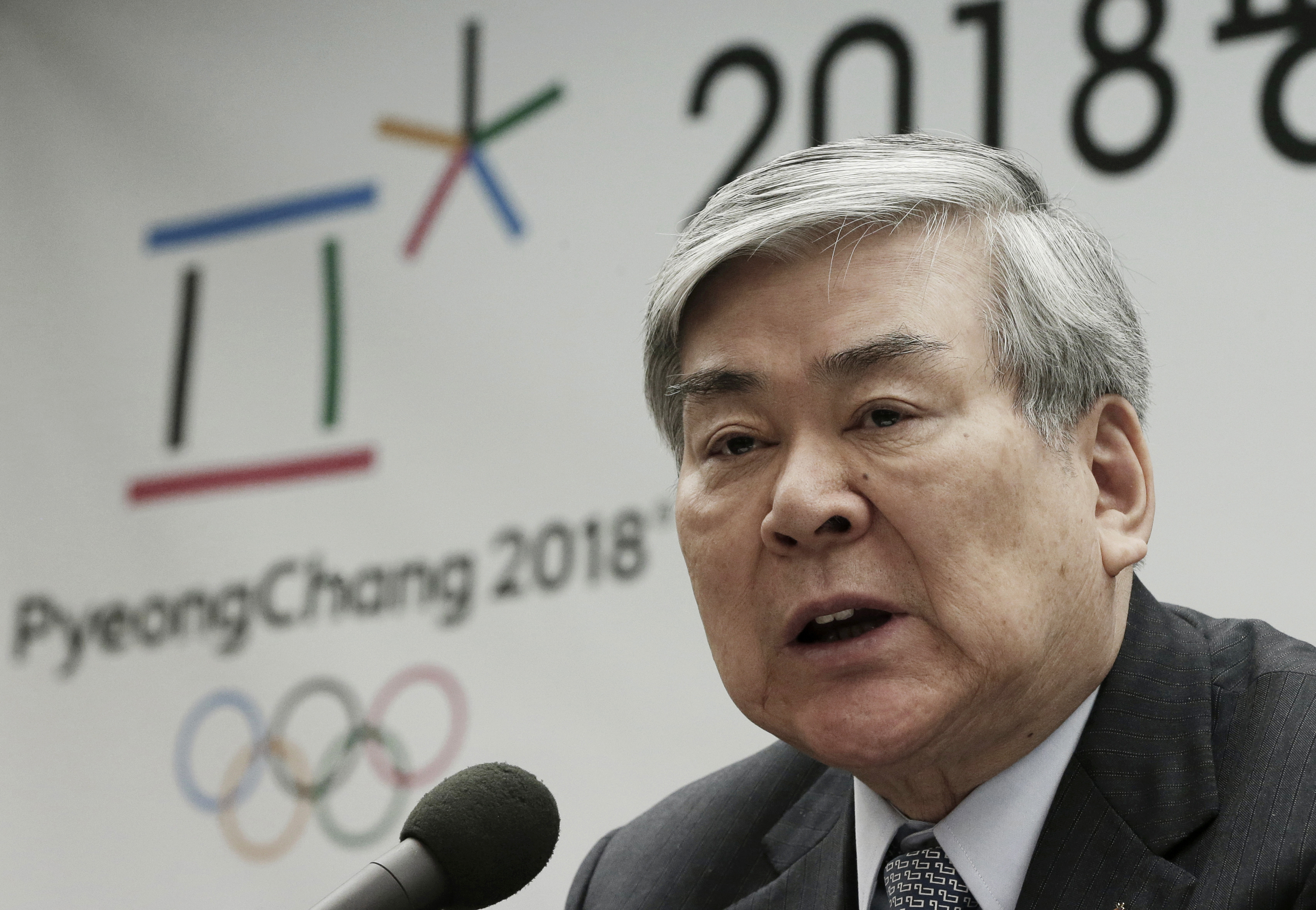 FILE - In this Feb. 3, 2016, file photo, Cho Yang-ho, president of the Pyeongchang 2018 Winter Olympics Organizing Committee, speaks during a press conference about the alpine skiing test event for the 2018 Pyeongchang Olympics in Jeongseon, at the Press