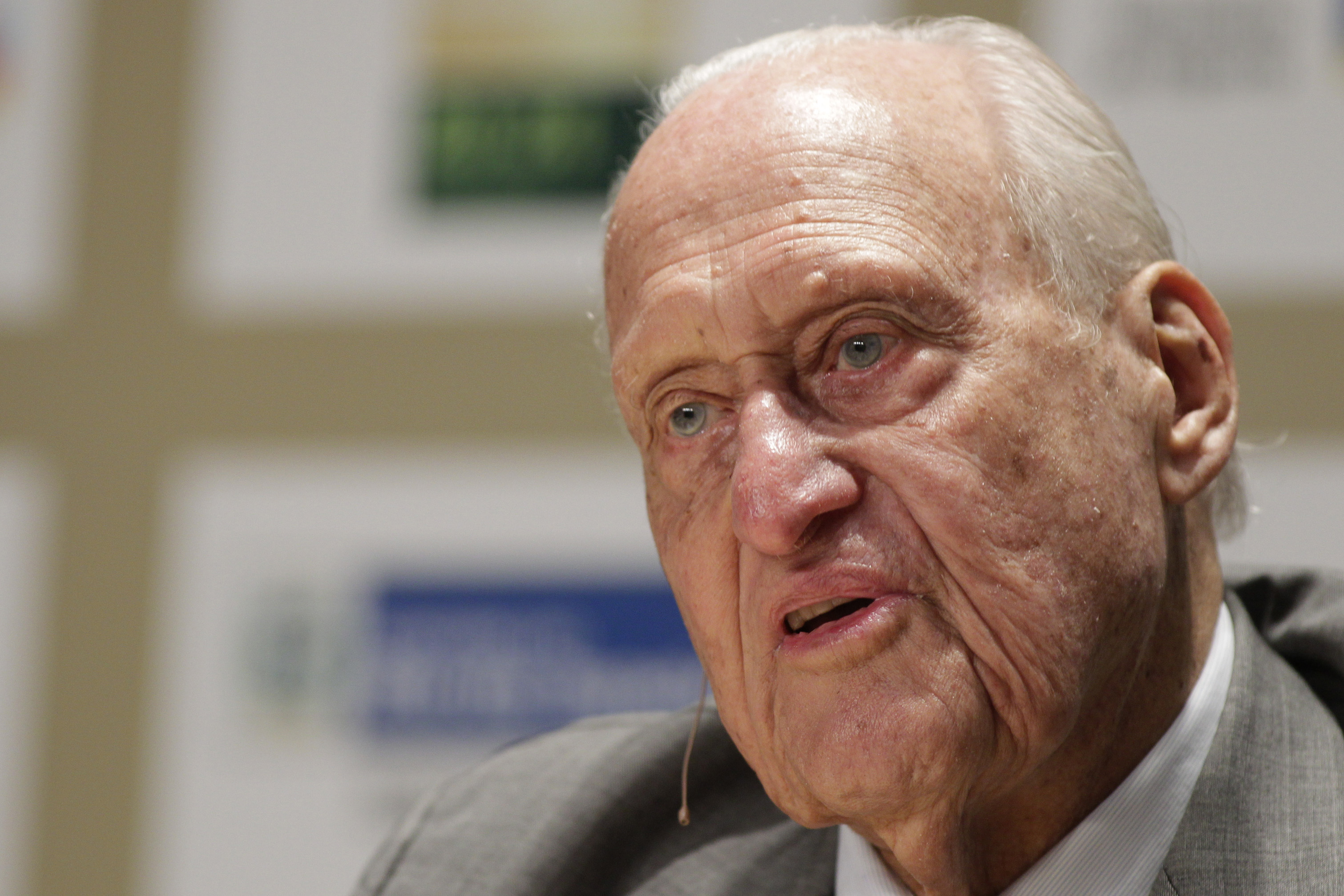 FILE - In this Nov. 22, 2010, file photo, Joao Havelange, a former FIFA president, speaks during an interview at the Soccerex Global Convention in Rio de Janeiro, Brazil. Havelange delivered an impassioned speech seven years ago in French, urging fellow I