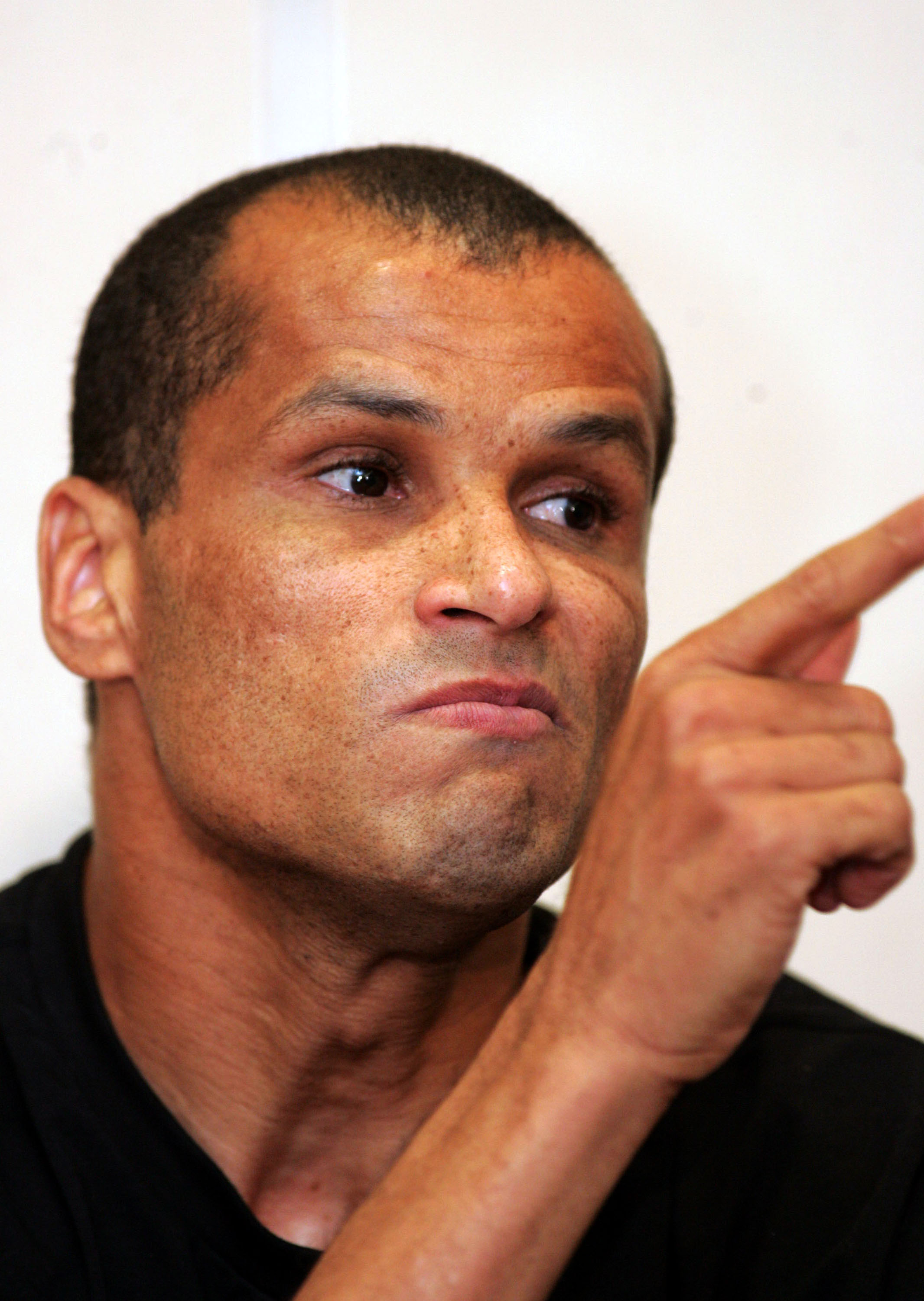 Brazilian soccer star Rivaldo gestures during a news conference in Athens, Saturday, May 12, 2007. The 35-year-old playmaker rejected an offer to renew his contract for another year with Greek champion Olympiakos, arguing the terms were unfair. Rivaldo wh