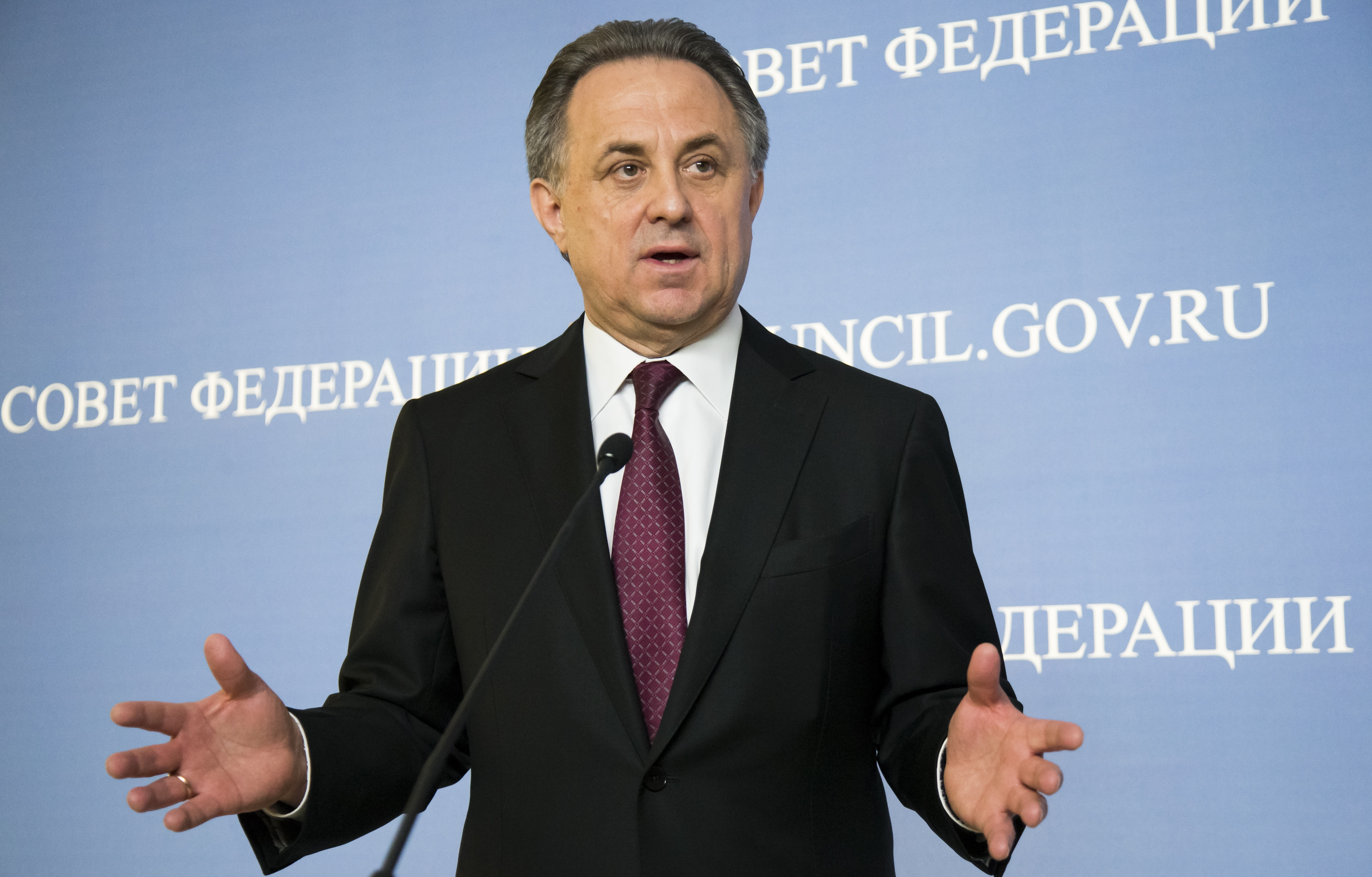 FILE - In this file photo taken on Wednesday, April  20, 2016, Russia's Sports Minister Vitaly Mutko gestures while speaking during his and FIFA President Gianni Infantino news conference after their addressed the upper chamber of the Russian parliament i
