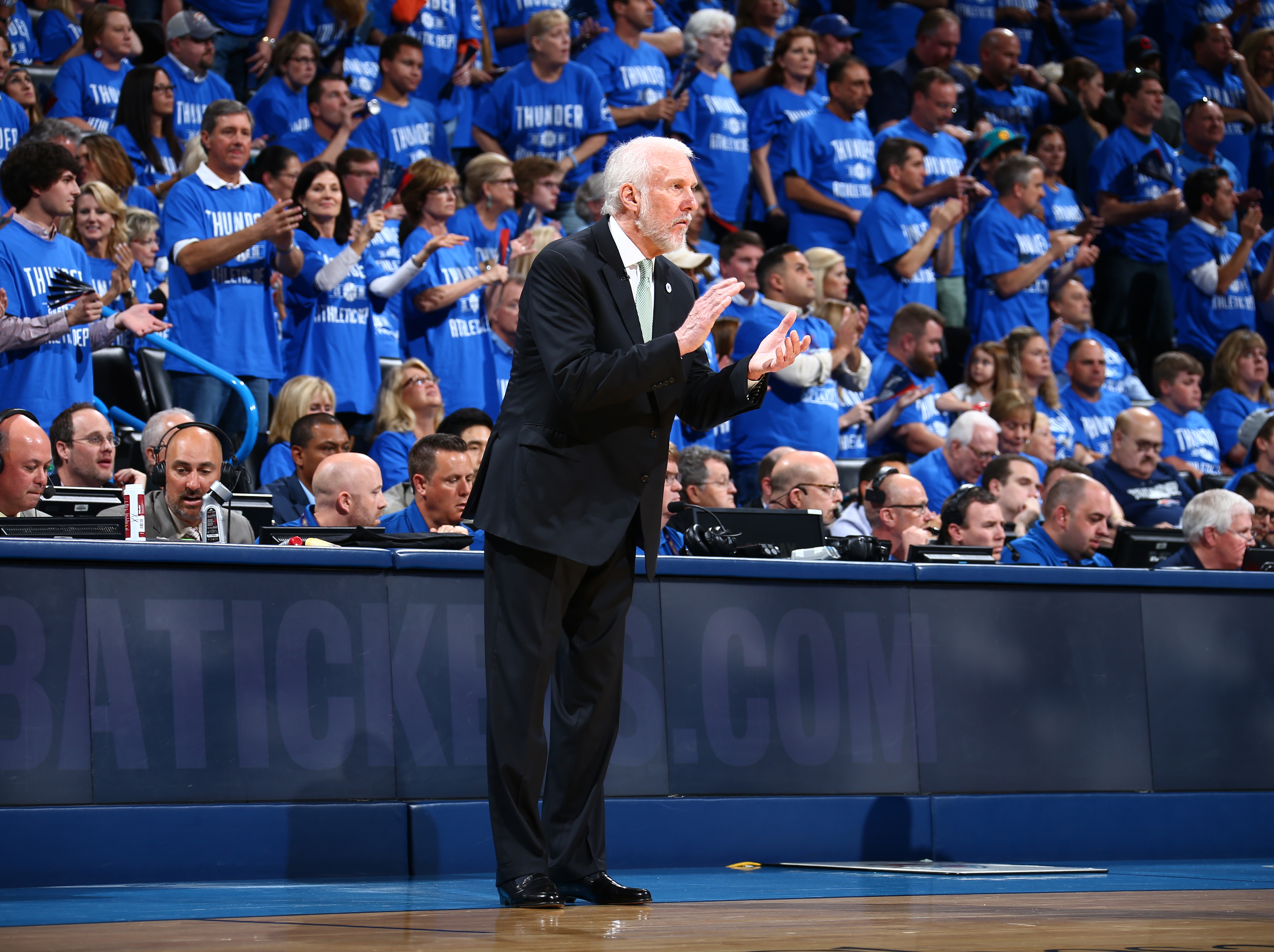 OKLAHOMA CITY, OK- MAY 12:  Head coach Gregg Popovich of the San Antonio Spurs looks on during the game against the Oklahoma City Thunder in Game Six of the Western Conference Semifinals during the 2016 NBA Playoffs on May 12, 2016 at Chesapeake Energy Ar