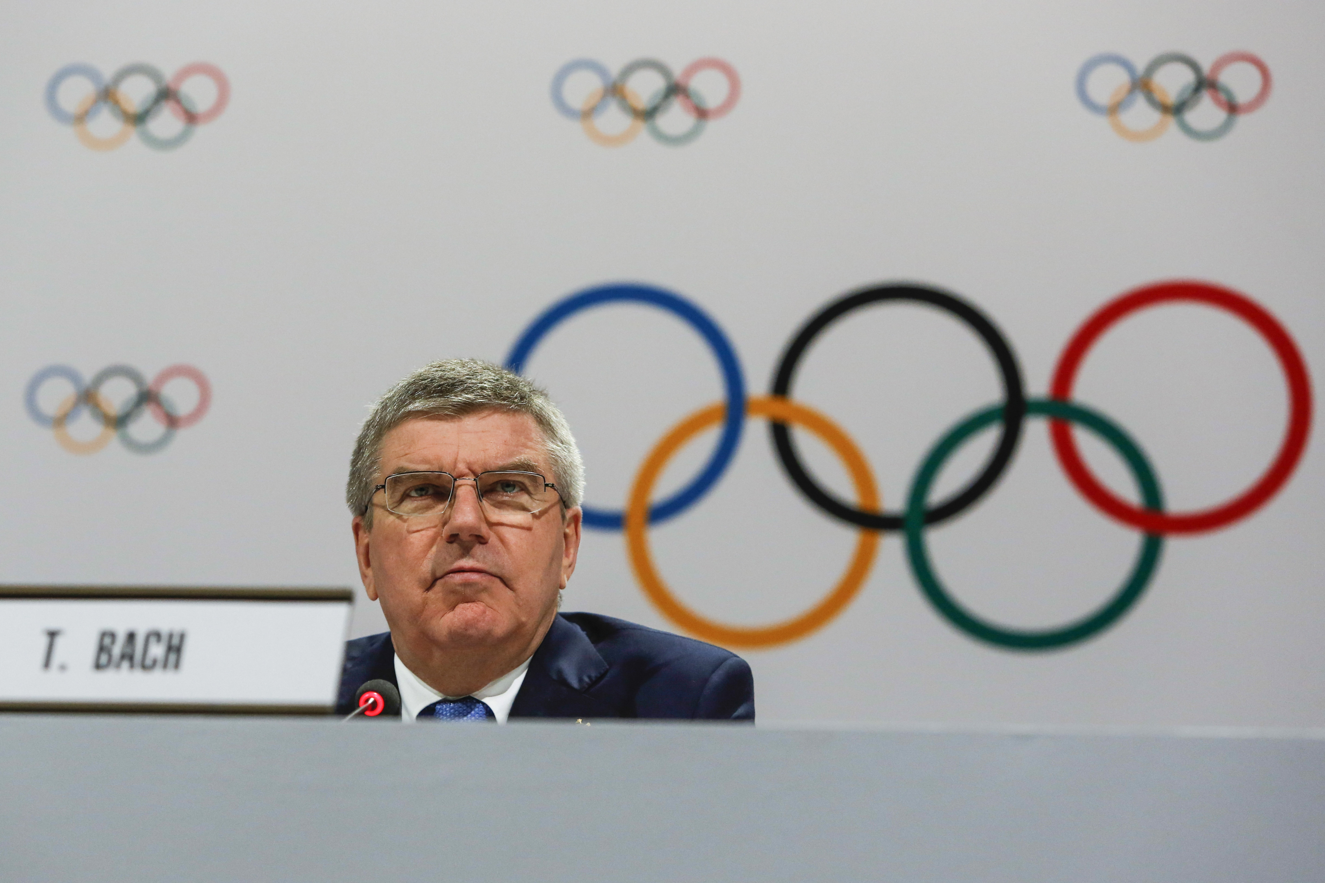 FILE- In this Monday, Aug. 3, 2015 file photo, IOC President Thomas Bach speaks at a press conference after the 128th IOC session in Kuala Lumpur, Malaysia. Bach said Wednesday May 18, 2016 entire sports federations could be suspended if allegations of st