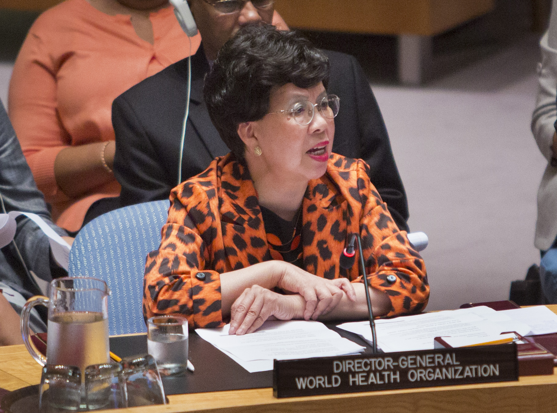 Director-General of the World Health Organization Dr Margaret Chan addresses an emergency meeting of the U.N. Security Council on Ebola, Thursday, Sept. 18, 2014.   (AP Photo/Bebeto Matthews)