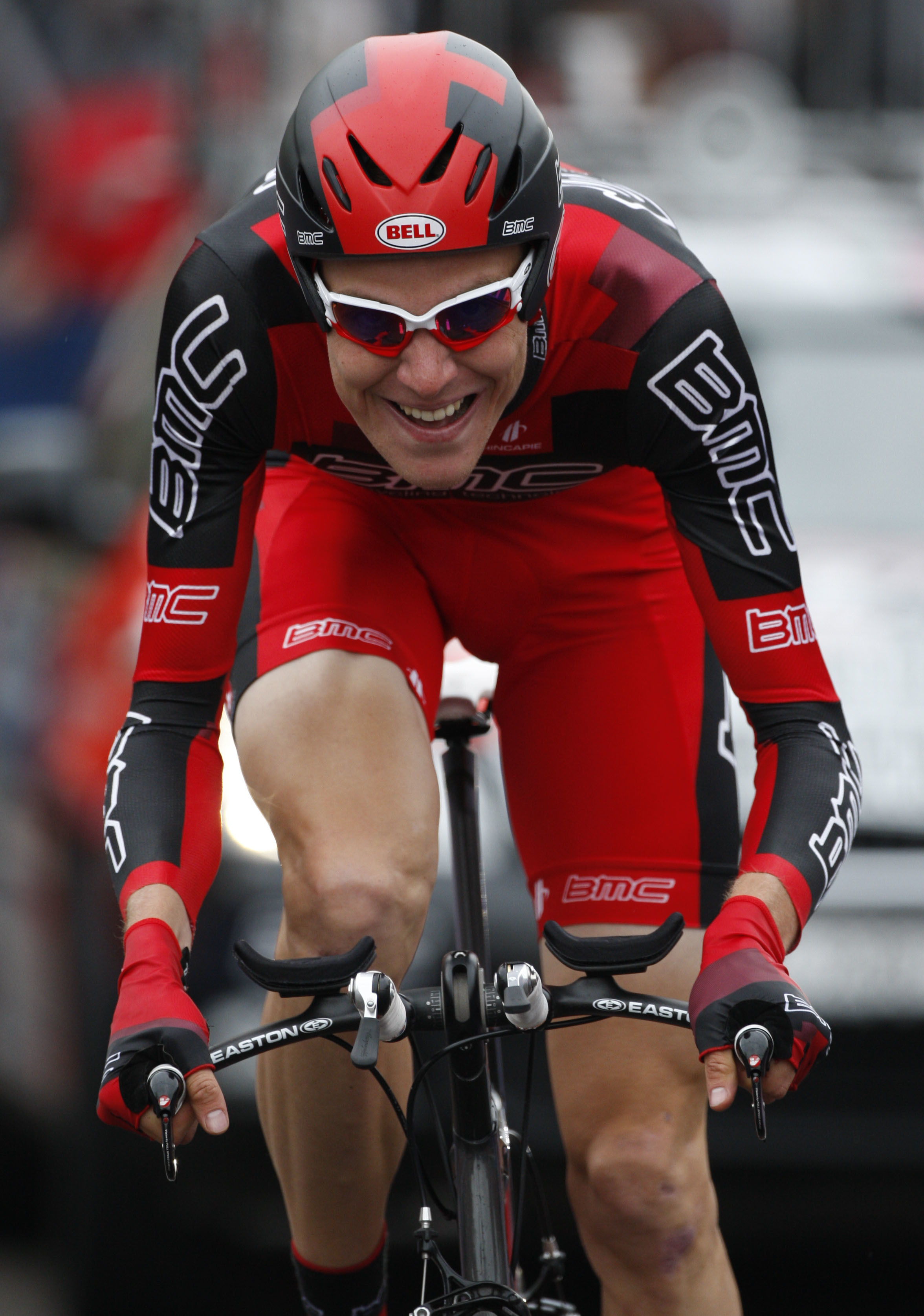 FILE - In this May 8, 2010, file photo, Brent Bookwalter of the United States races to the second place during the opening leg of the Giro d'Italia, Tour of Italy cycling race, in Amsterdam. Bookwalter is hoping to get one of only two spots the Americans
