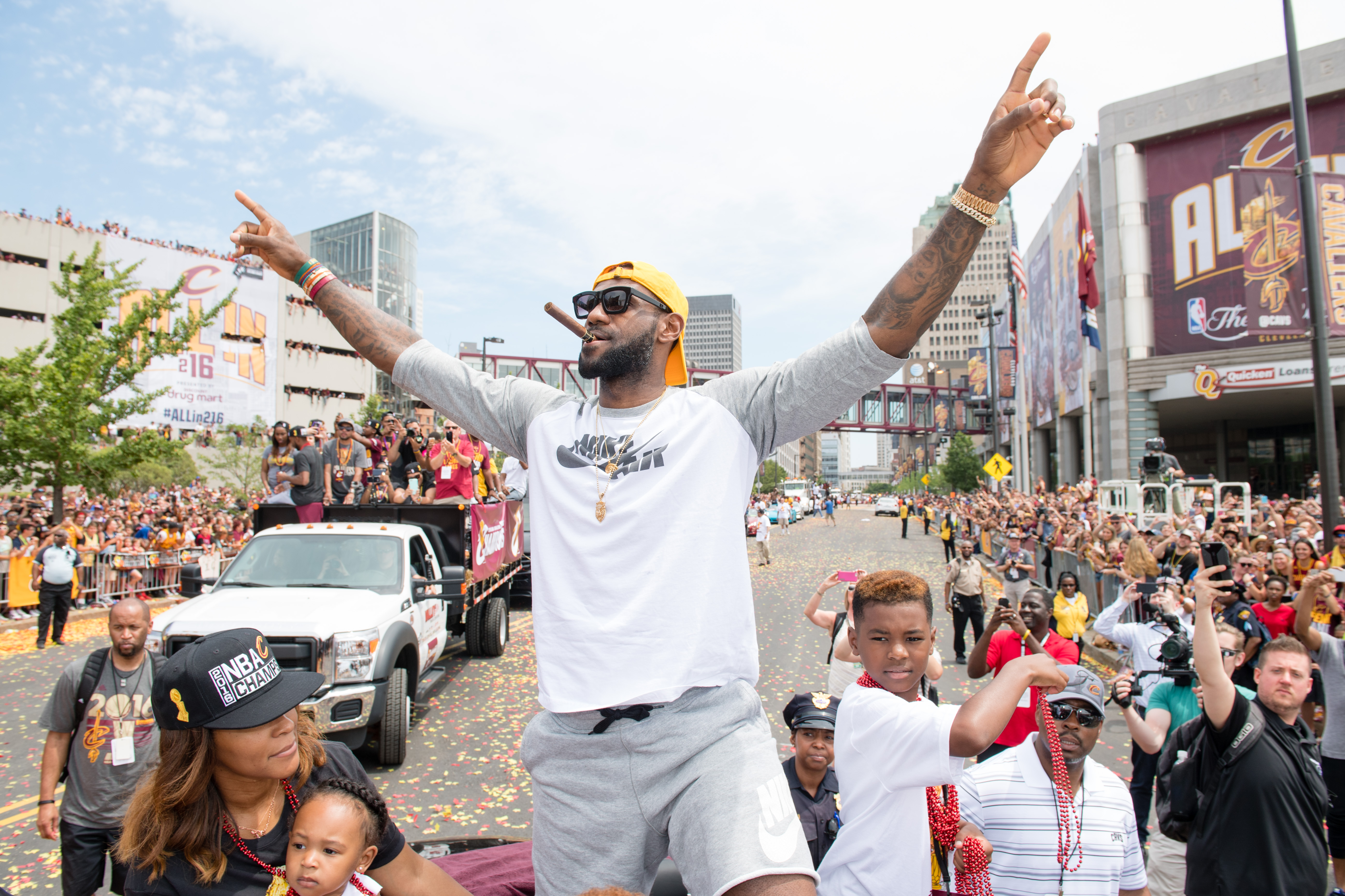 CLEVELAND, OH -  JUNE 22: LeBron James #23 of the Cleveland Cavaliers celebrates during the Cleveland Cavaliers 2016 championship victory parade and rally on June 22, 2016 in Cleveland, Ohio. (Photo by Jason Miller/Getty Images) *** BESTPIX ***