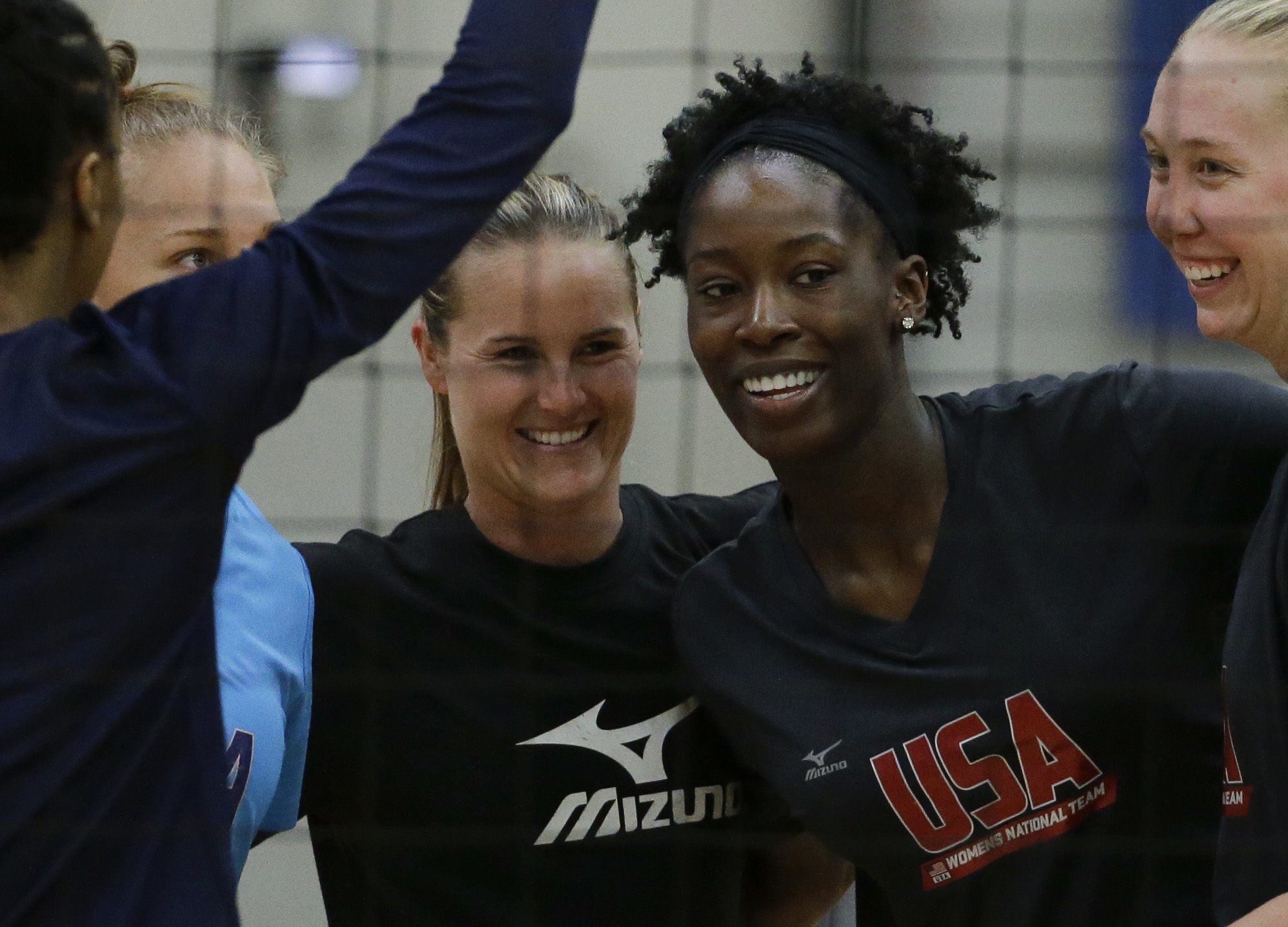 U.S. women's volleyball player Megan Easy trains, Tuesday, May 24, 2016 in Anaheim, Calif. Megan is the lone mother on U.S. roster. (AP Photo/Chris Carlson)
