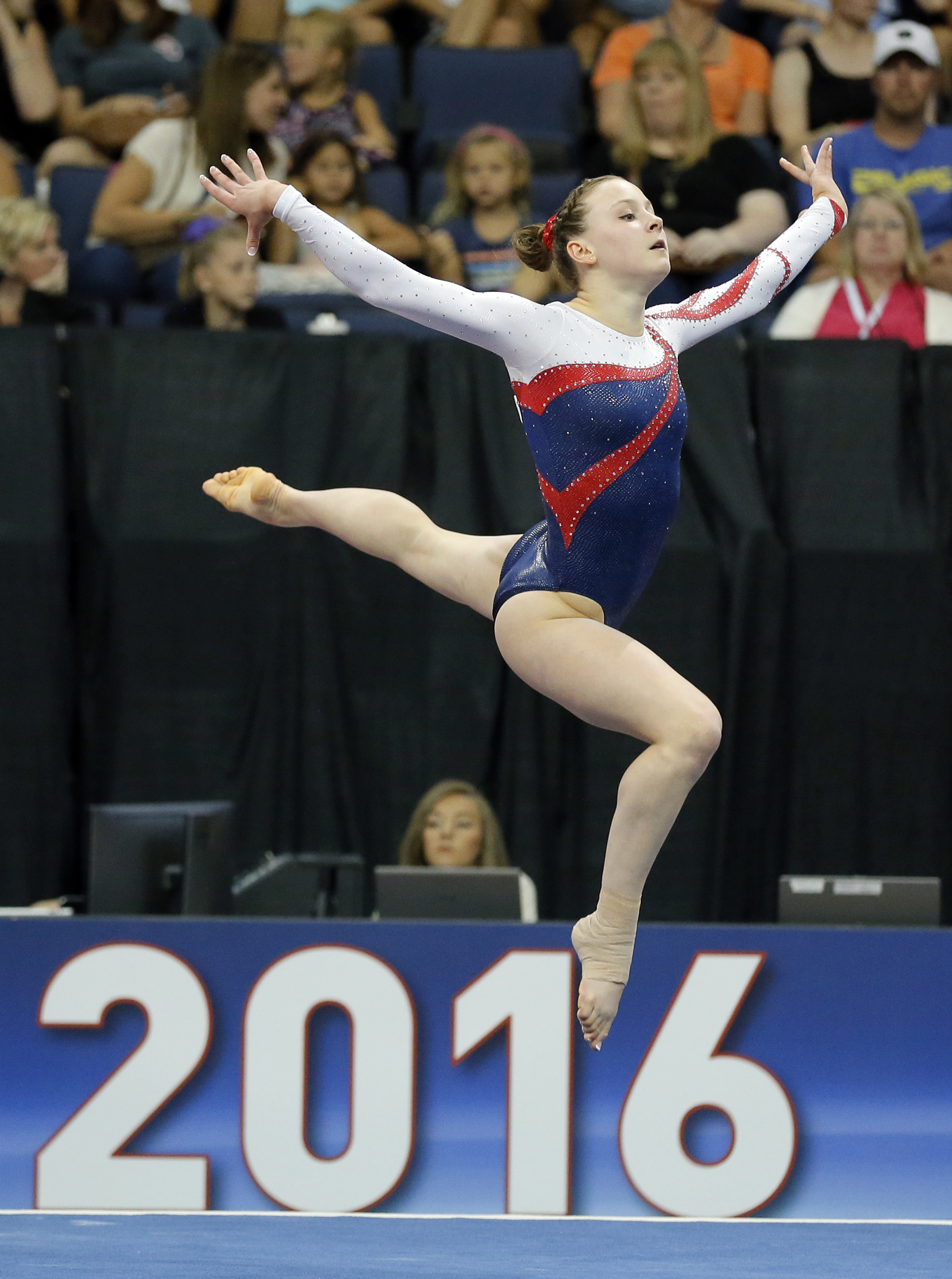 Lexy Ramler competes in the floor exercise during the U.S. women's gymnastics championships, Friday, June 24, 2016, in St. Louis. (AP Photo/Tony Gutierrez)