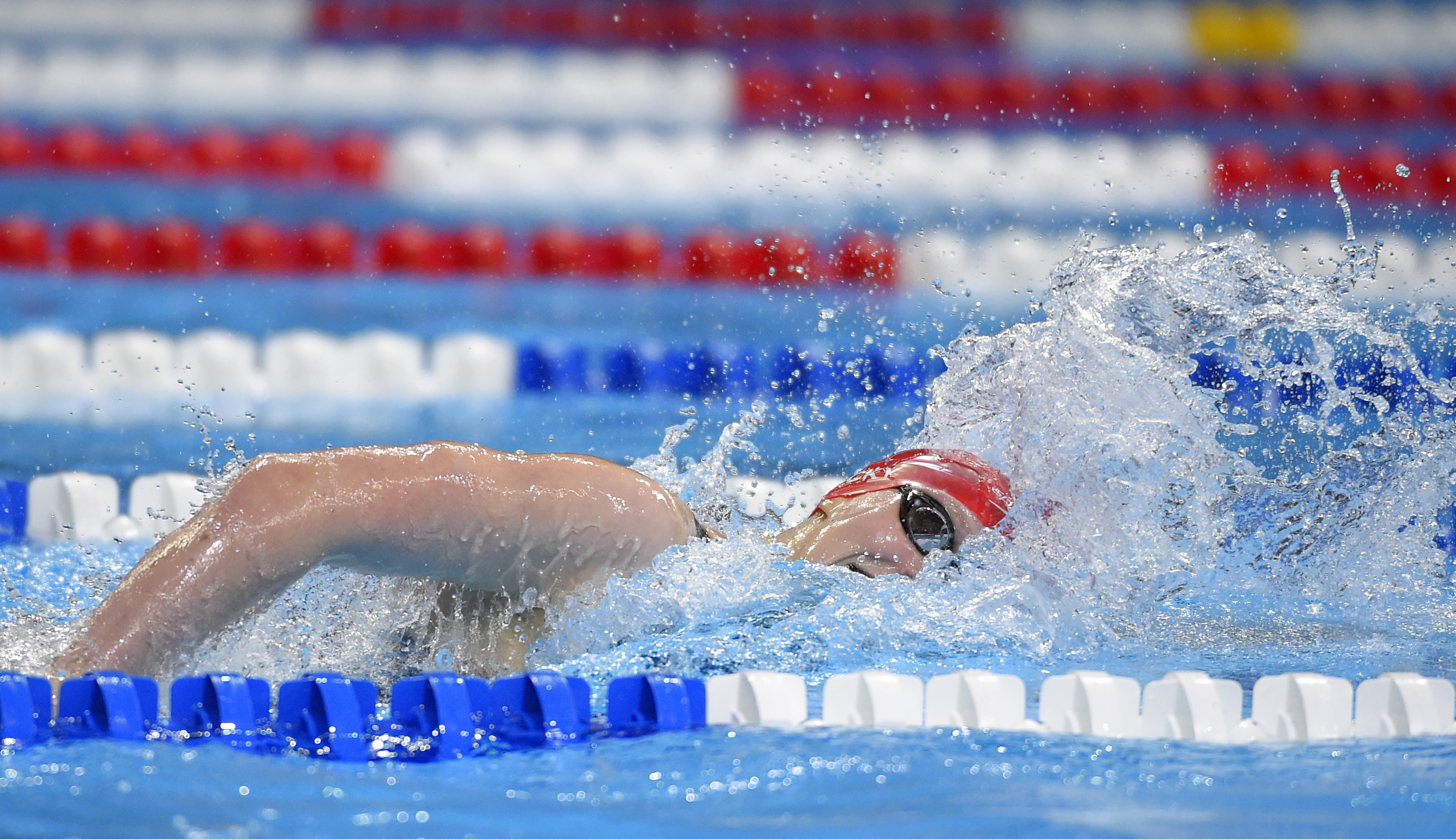 Katie Ledecky swims during the women's 200-meter freestyle preliminaries at the U.S. Olympic swimming trials, Tuesday, June 28, 2016, in Omaha, Neb. (AP Photo/Mark J. Terrill)