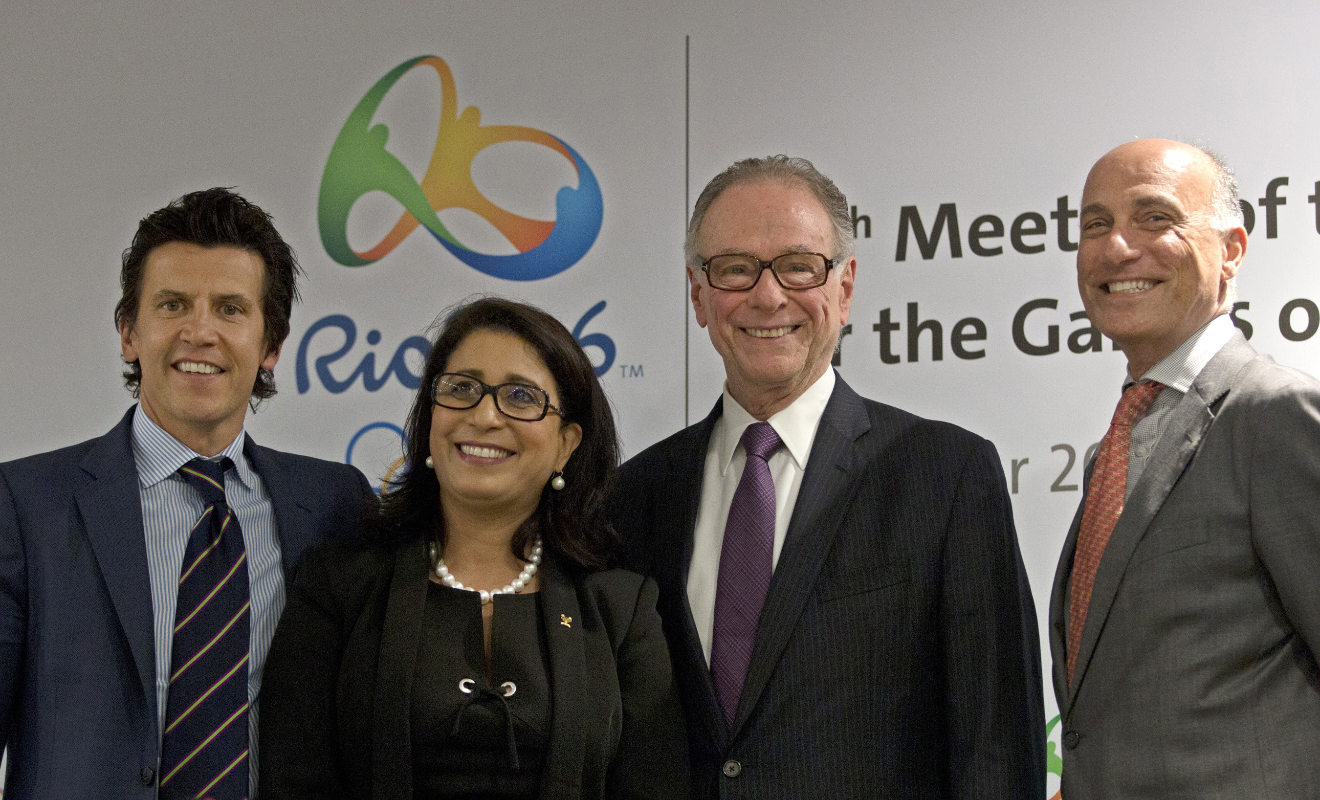 Olympic Games Executive Director Christophe Dubi, left, Nawal El Moutawakel, second left, head of the International Olympic Committee's evaluation commission, Brazil Olympic Committee President Carlos Arthur Nuzman, second right, and Rio 2016 Committee Ch
