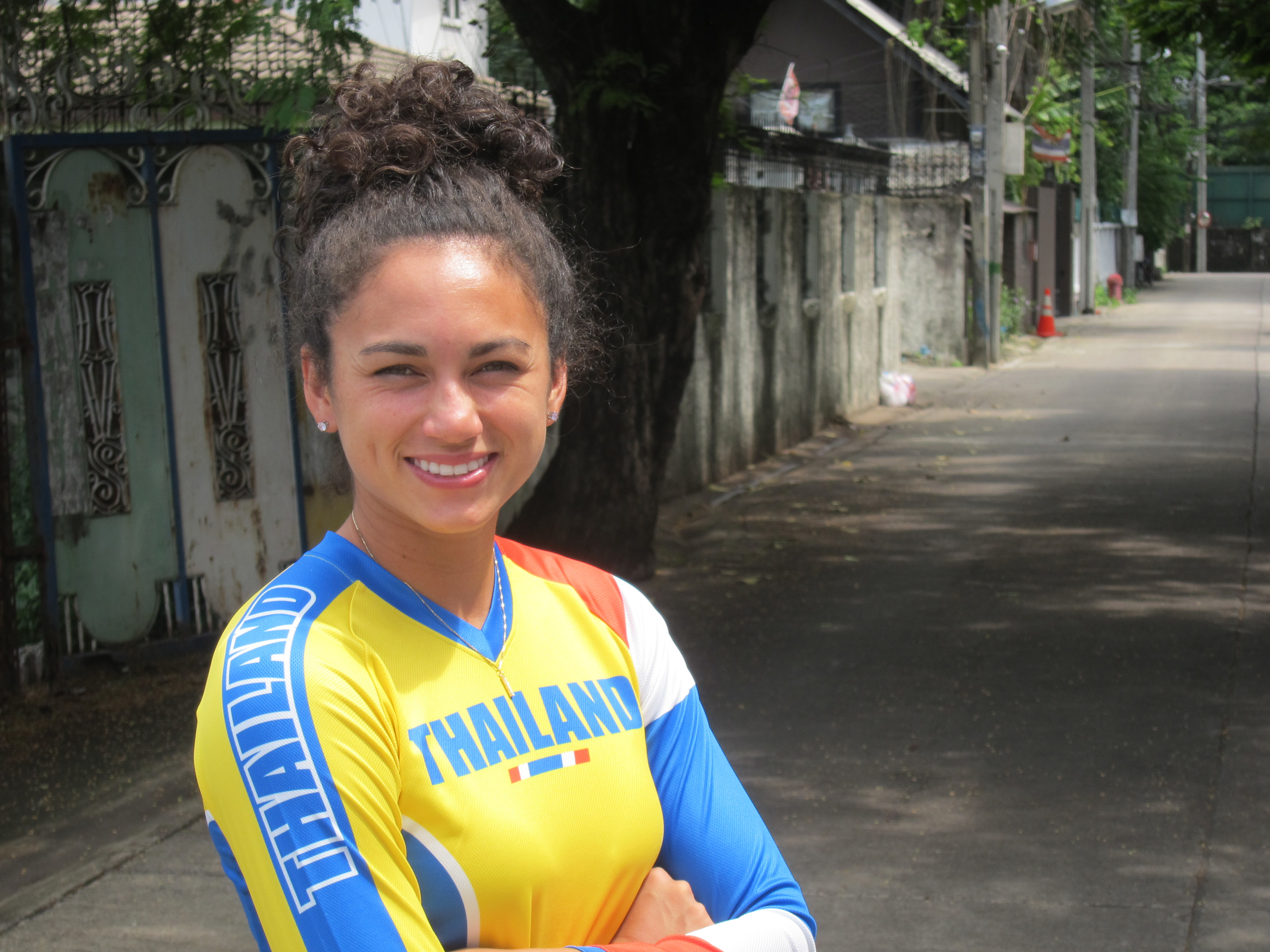In this photo taken on Thursday, June 23, 2016, BMX rider Amanda Carr poses for a photograph during a visit to Bangkok, Thailand. Four years ago, Amanda Carr was coming to terms with the disappointment of not qualifying for the United States BMX team trav