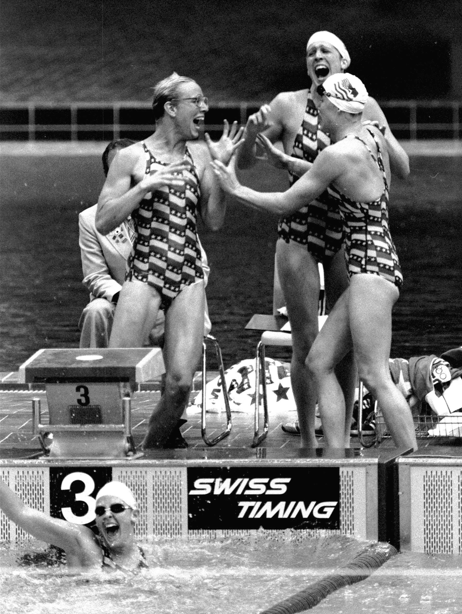 FILE - In this July 26, 1976, file photo, the United States women's  relay team, from top left, Wendy Boglioli, Kim Peyton, and Jill Sterkel celebrate after Shirley Babashoff, bottome left, finished the final leg of the 4x100 meter freestyle relay event t