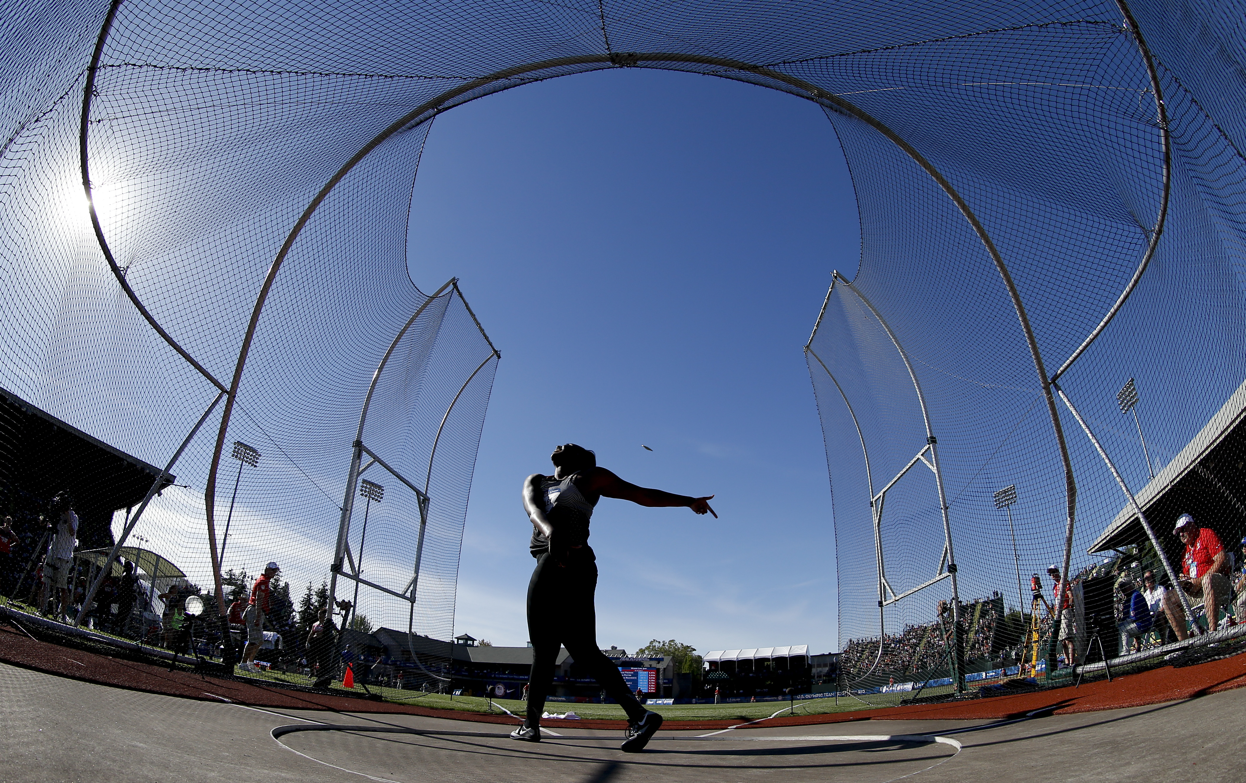 Whitney Ashley competes during qualifying for the womens discus throw at the U.S. Olympic Track and Field Trials, Friday, July 1, 2016, in Eugene Ore. (AP Photo/Matt Slocum)