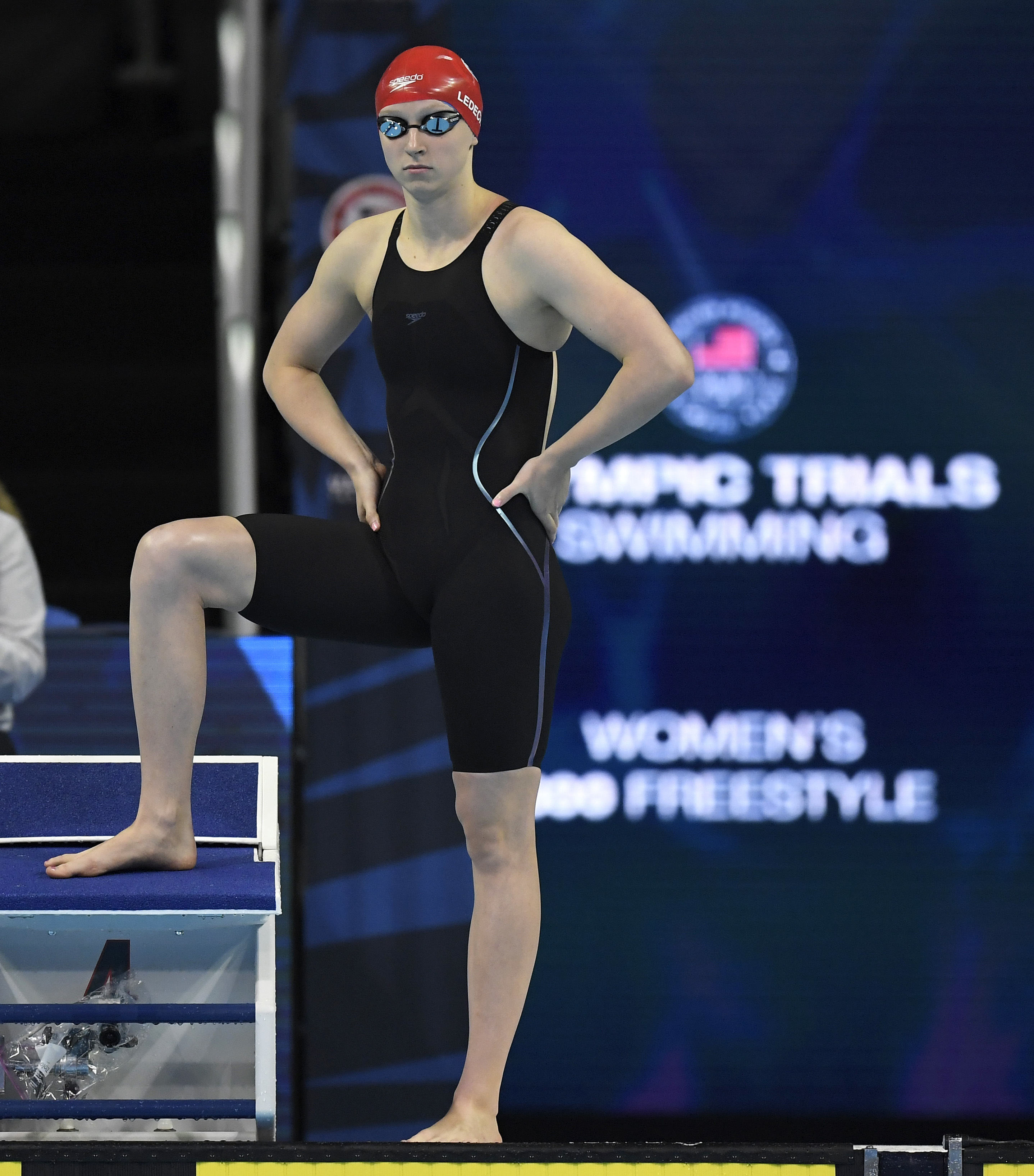 Katie Ledecky waits for the start of the women's 800-meter freestyle final at the U.S. Olympic swimming trials, Saturday, July 2, 2016, in Omaha, Neb. Ledecky won the race. (AP Photo/Mark J. Terrill)