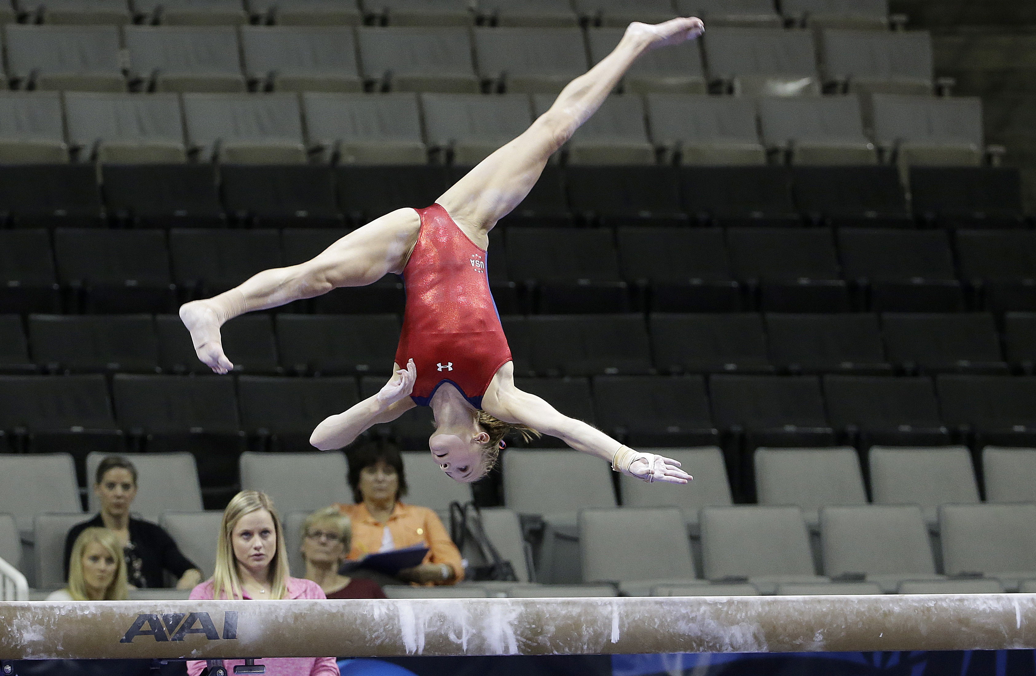 Madison Kocian performs on the balance beam during practice at the U.S. Olympic trials in gymnastics in San Jose, Calif., Thursday, July 7, 2016. (AP Photo/Jeff Chiu)