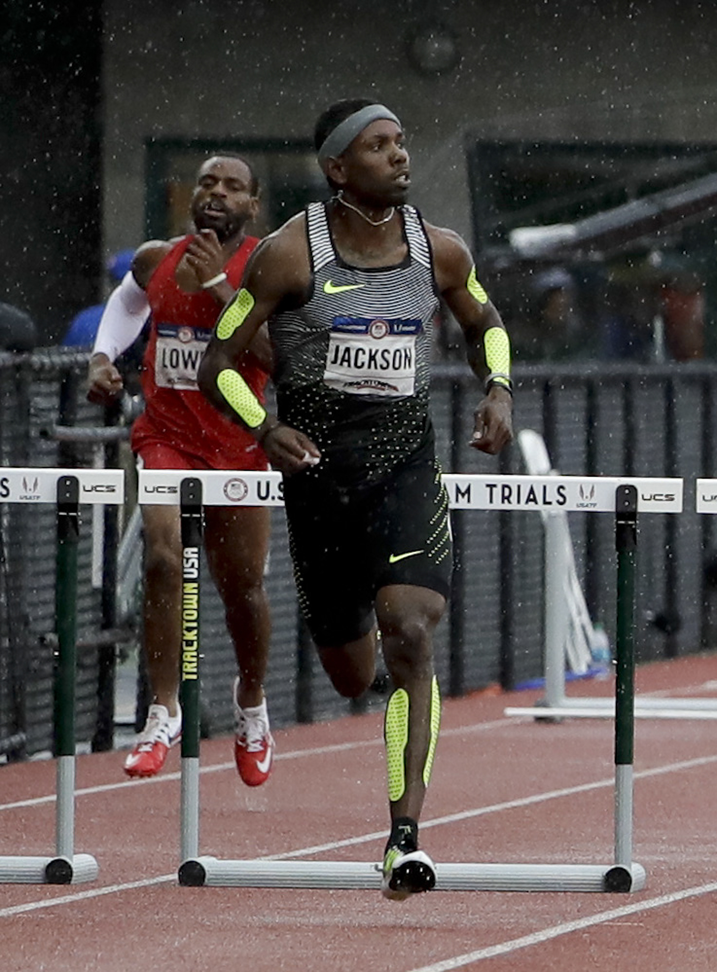 Bershawn Jackson runs during his heat in the mens 400-meter hurdles at the U.S. Olympic Track and Field Trials, Thursday, July 7, 2016, in Eugene Ore. (AP Photo/Marcio Jose Sanchez)