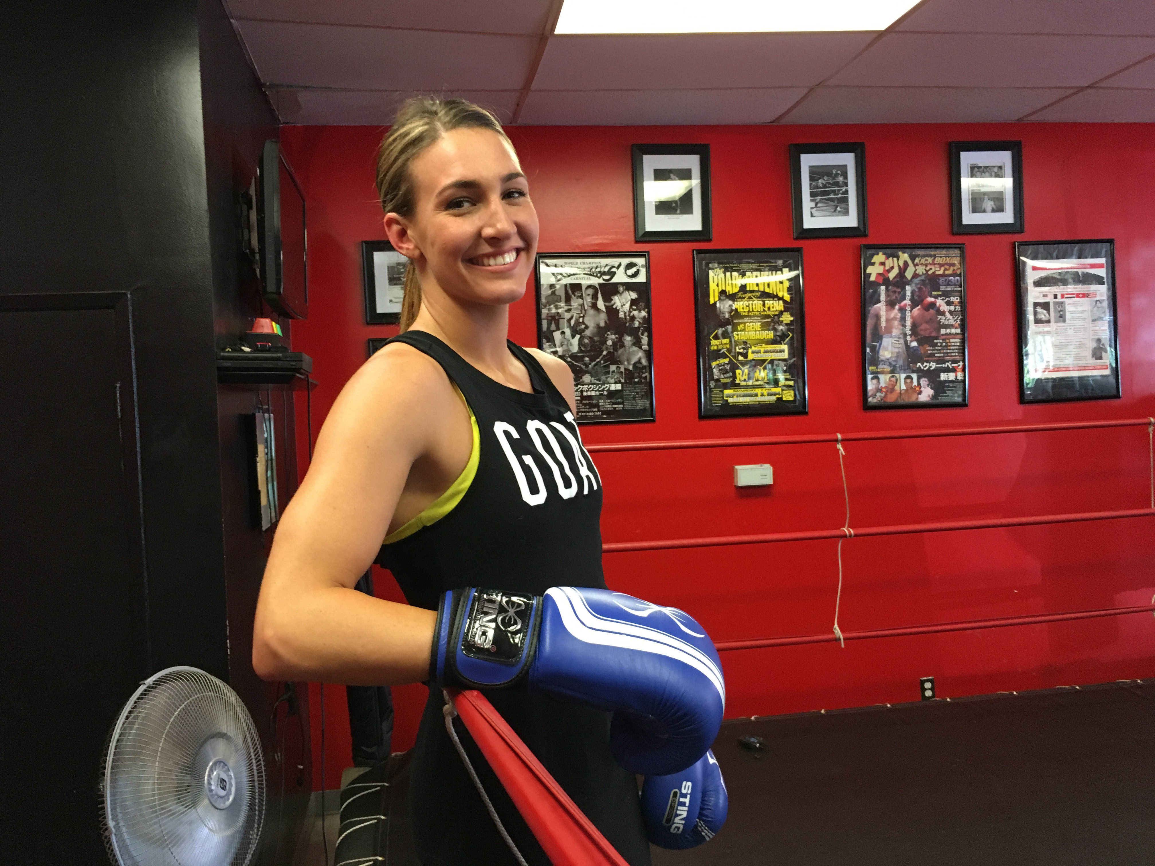 In this June 13, 2016 photo, U.S. Olympic boxer Mikaela Mayer poses at a gym in West Hills, Calif., where she is preparing for her trip to the Rio de Janeiro Olympics. (AP Photo/Greg Beachem)