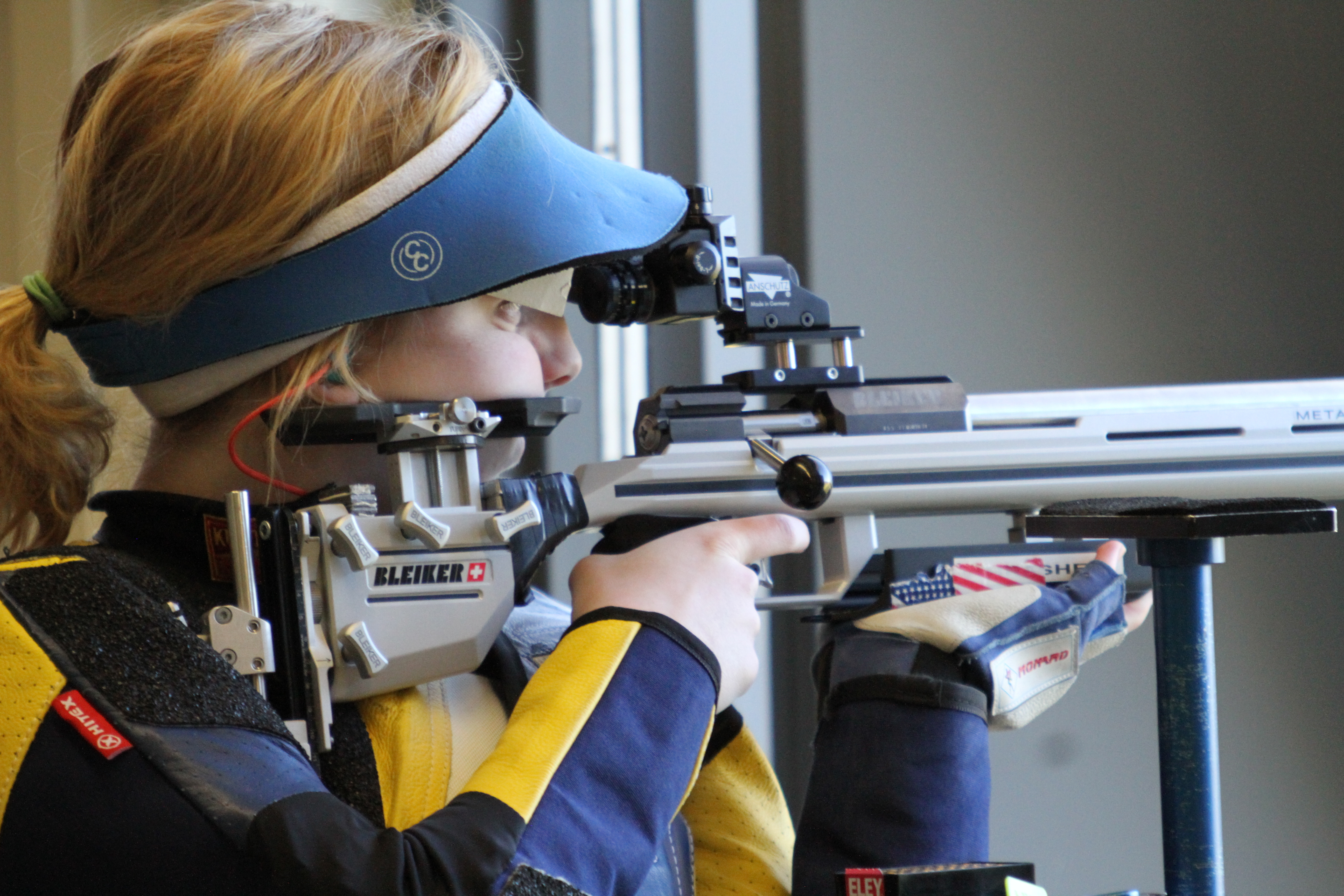 In this image provided by USA Shooting, Ginny Thrasher is shown at the 2016 U.S. Olympic Team Trials for Smallbore at Fort Benning, Ga., in April. Thrasher was a surprise double NCAA champion as a freshman and followed that up by winning the U.S. Olympic