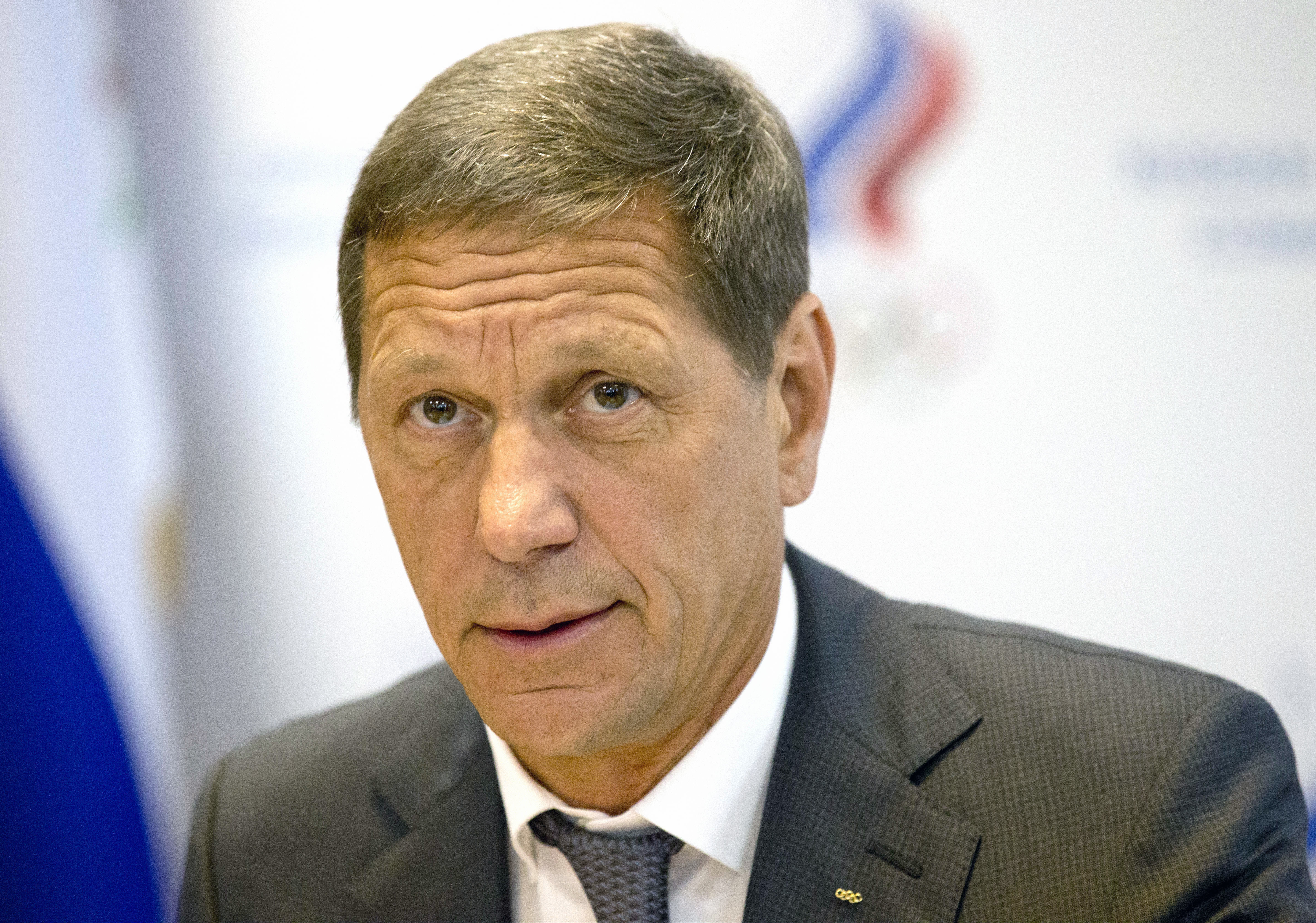 President of Russia's Olympic Committee Alexander Zhukov opens the meeting of Russia's Olympic Committee in Moscow, Wednesday, July 20, 2016. Zhukov says he expects a final decision by Sunday on whether the entire Russian team will be banned from next mon