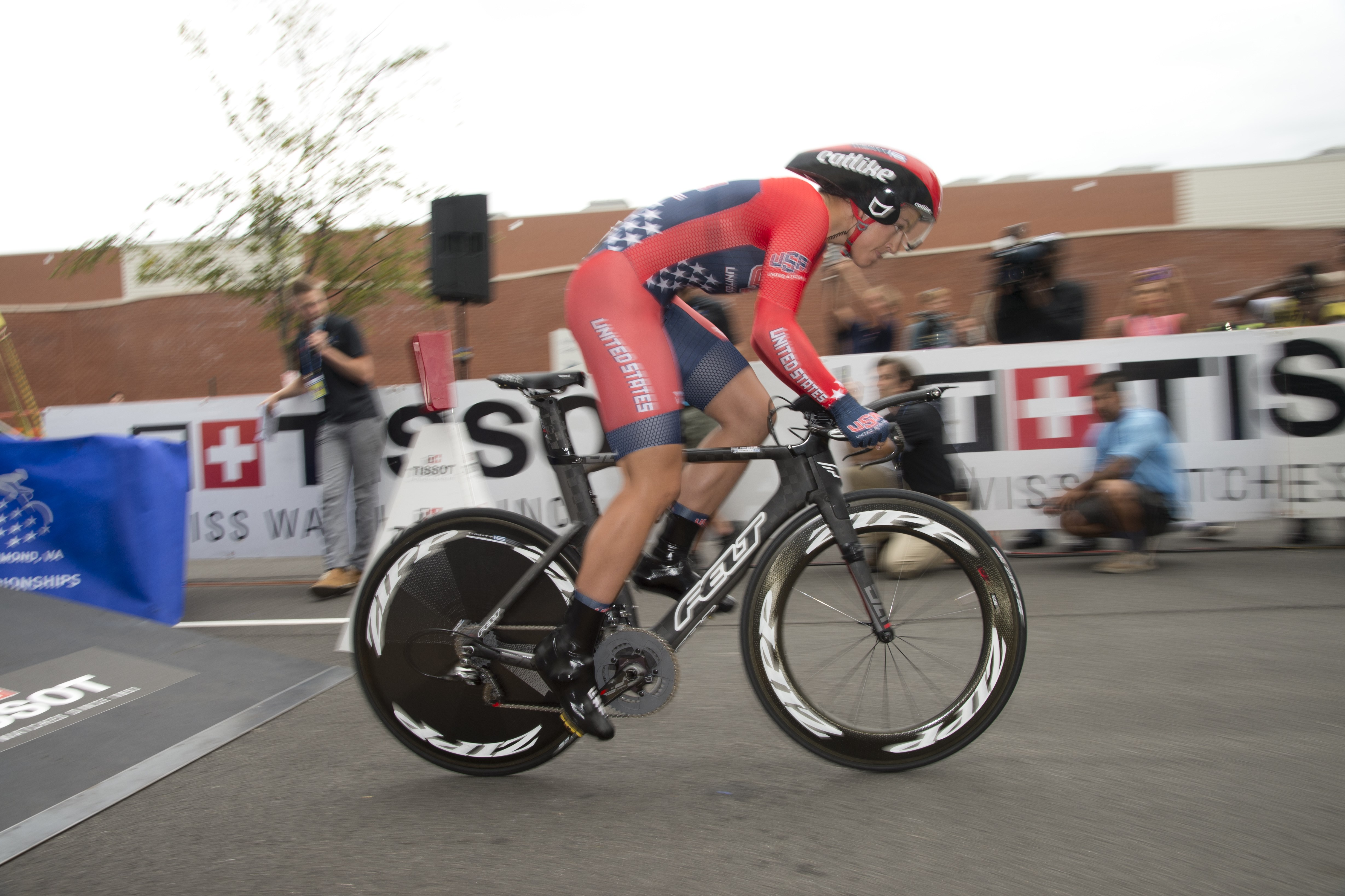 Chloe Dygert, of the United States, starts the Junior Women's Time Trials for the UCI Road World Championships in Richmond, Va., Monday, Sept. 21, 2015.  Dygert won the event.  (Casey B. Gibson/Richmond 2015/Pool via AP)