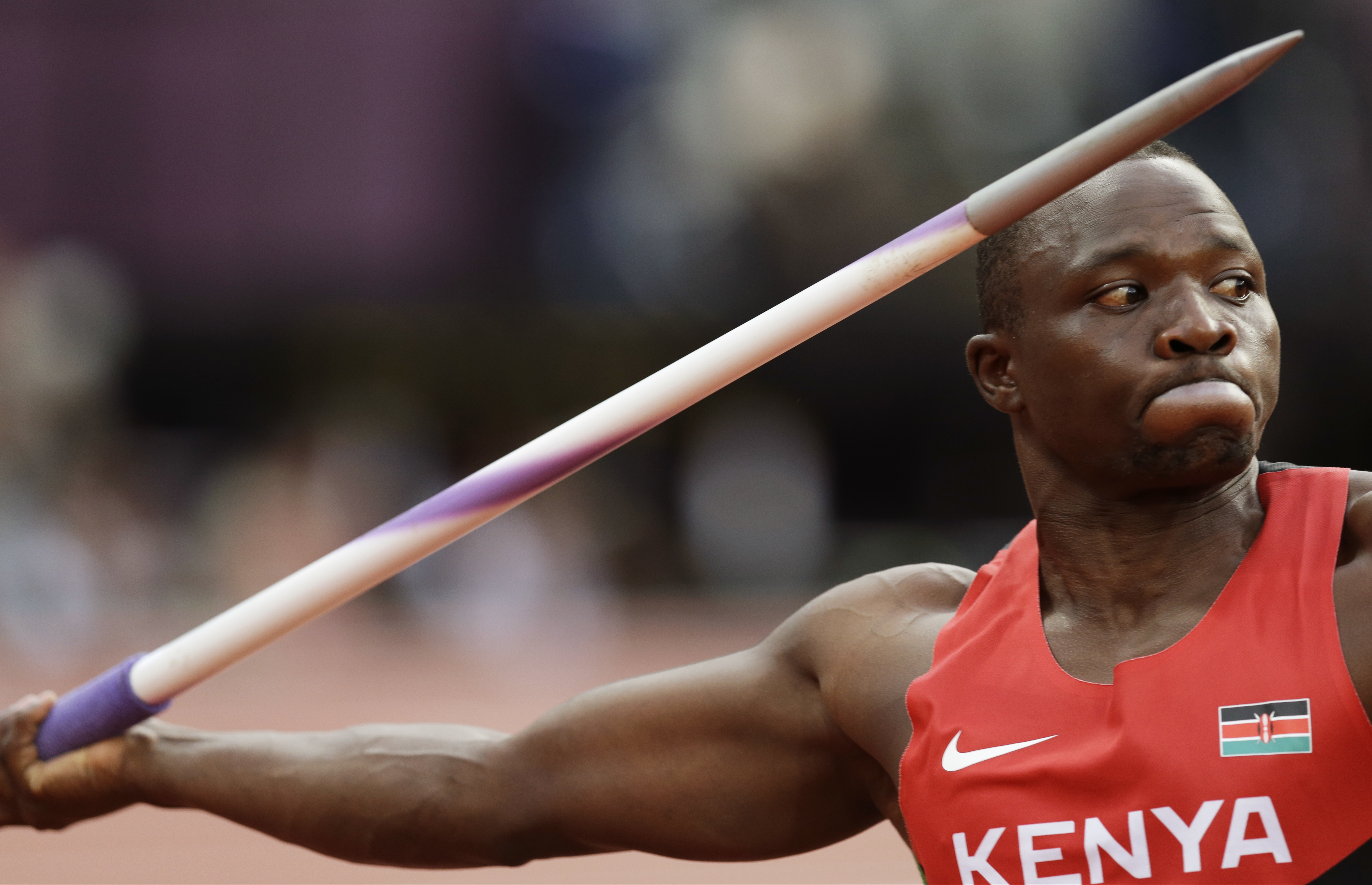 FILE - In this Aug. 11, 2012 file photo, Kenya's Julius Yego takes a throw in the men's javelin throw final during the athletics in the Olympic Stadium at the 2012 Summer Olympics, London. Julius Yego wanted to be an athlete, only he couldnt run very fast