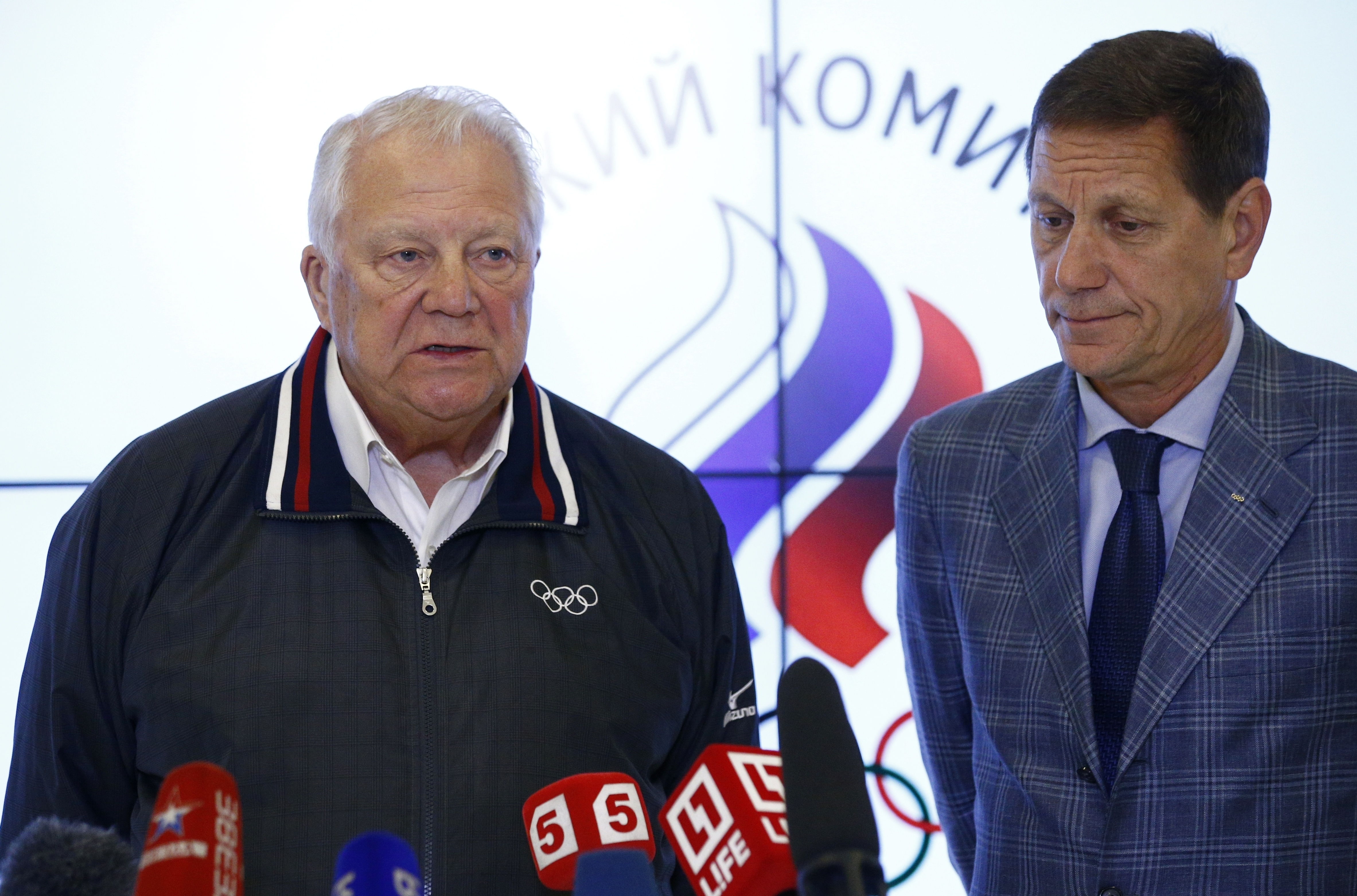 Vitaly Smirnov, an honorary member of the International Olympic Committee member and a veteran of Russian and Soviet sports administration, speaks at a news conference, with Russia's Olympic Committee President Alexander Zhukov at right, in Moscow, Russia