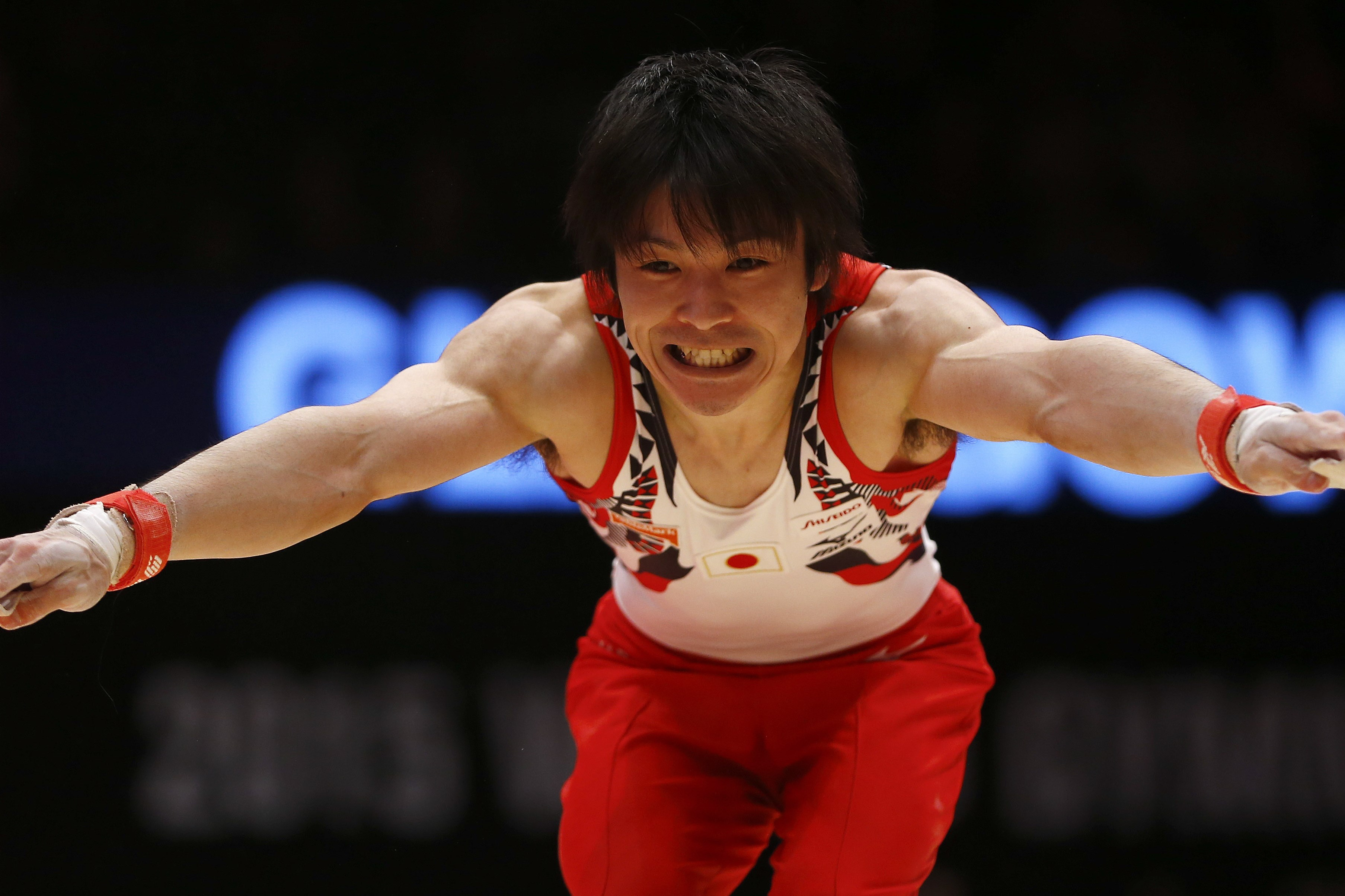 Winner Japans Kohei Uchimura performs on the horizontal bar during the men's apparatus final competition at the World Artistic Gymnastics championships at the SSE Hydro Arena in Glasgow, Scotland, Sunday, Nov. 1, 2015. (AP Photo/Matthias Schrader)