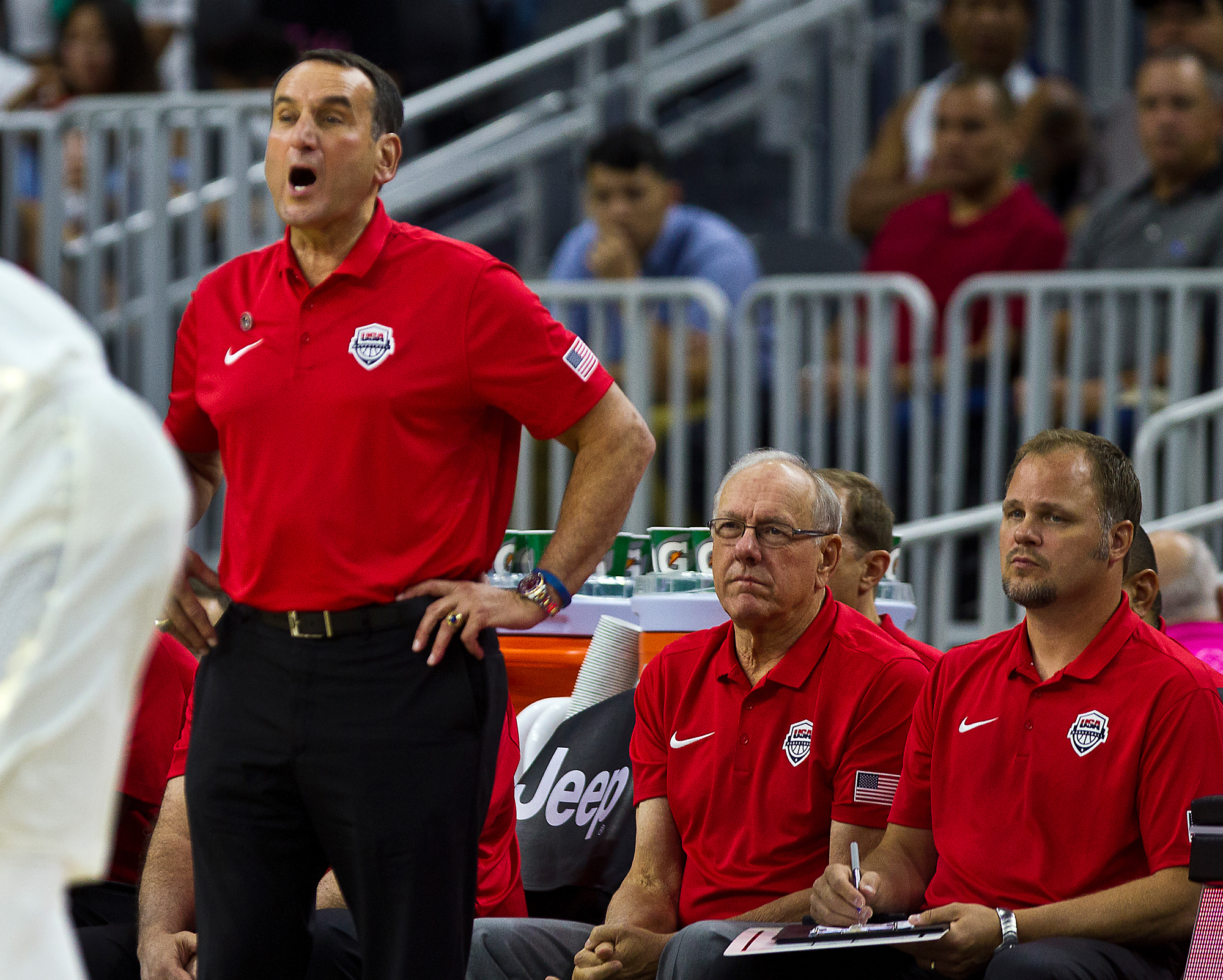 U.S. coach Mike Krzyzewski yells during the team's exhibition basketball game against Argentina on Friday, July 22, 2016, in Las Vegas. The United States won 111-74. (AP Photo/L.E. Baskow)