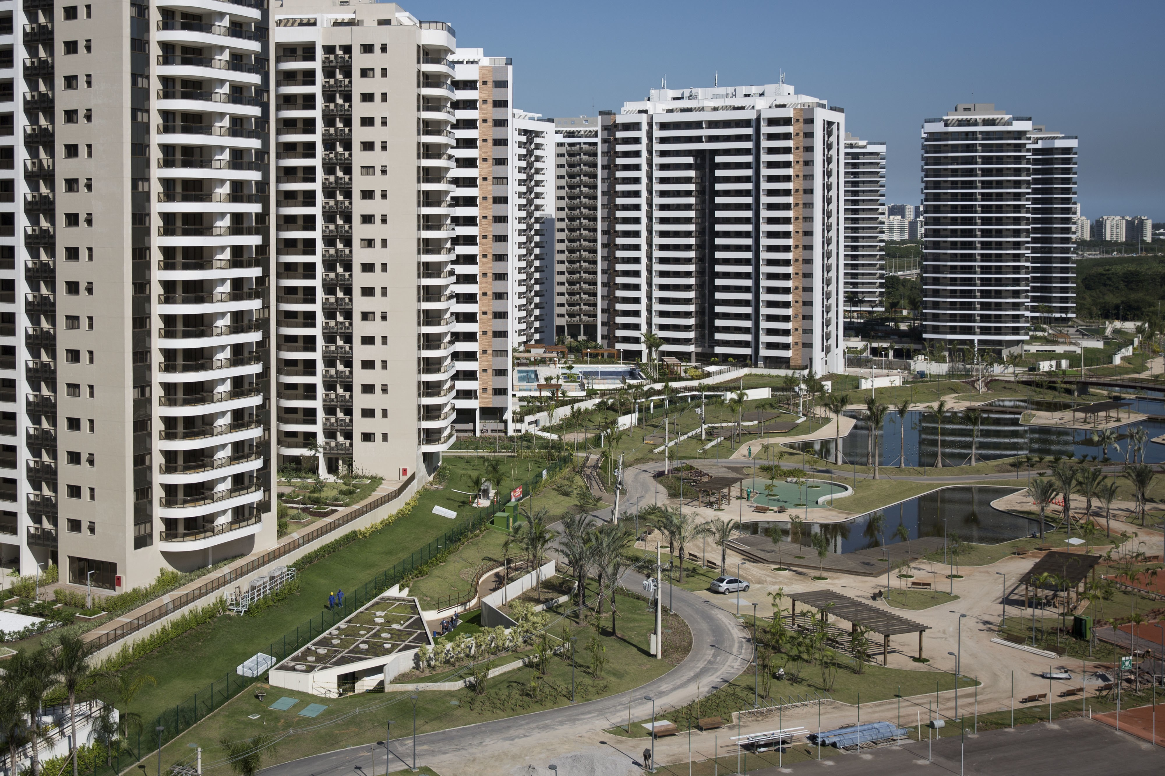 General view of buildings at the Olympic Village in Rio de Janeiro, Brazil, Wednesday, June 15, 2016. (AP Photo/Felipe Dana, Pool)