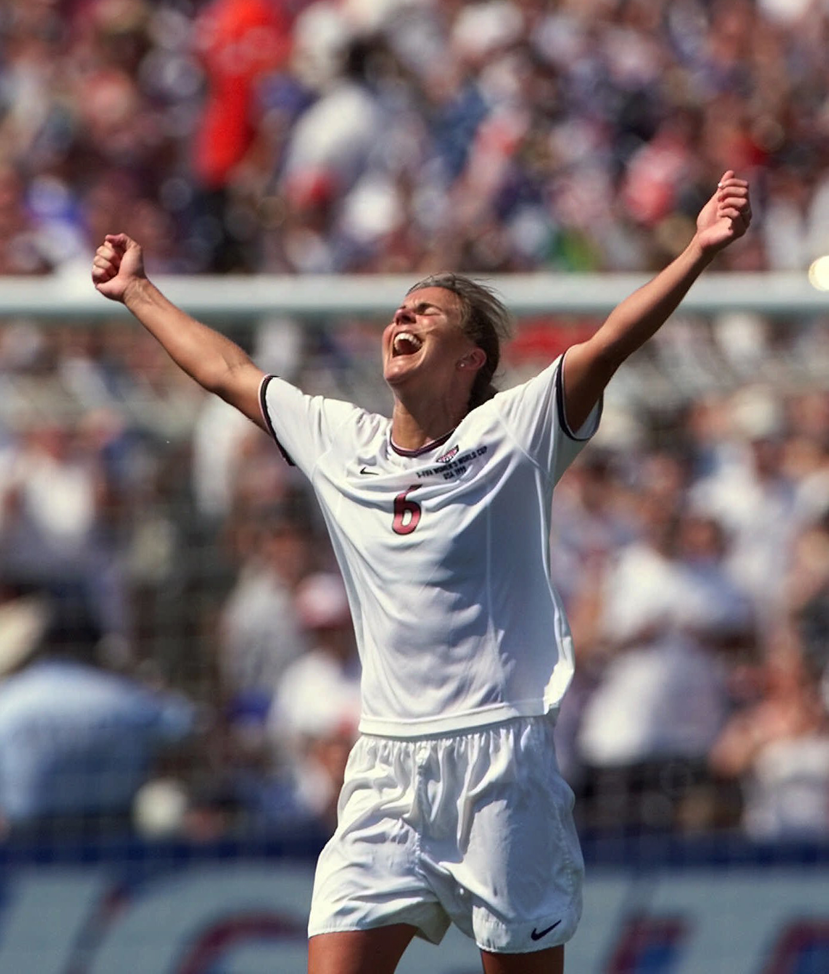 FILE - In this July 10, 1999, file photo, United States' Brandi Chastain celebrates after kicking the game-winning overtime penalty shootout goal against China during the Women's World Cup final at the Rose Bowl in Pasadena, Calif. Chastain likes the U.S.