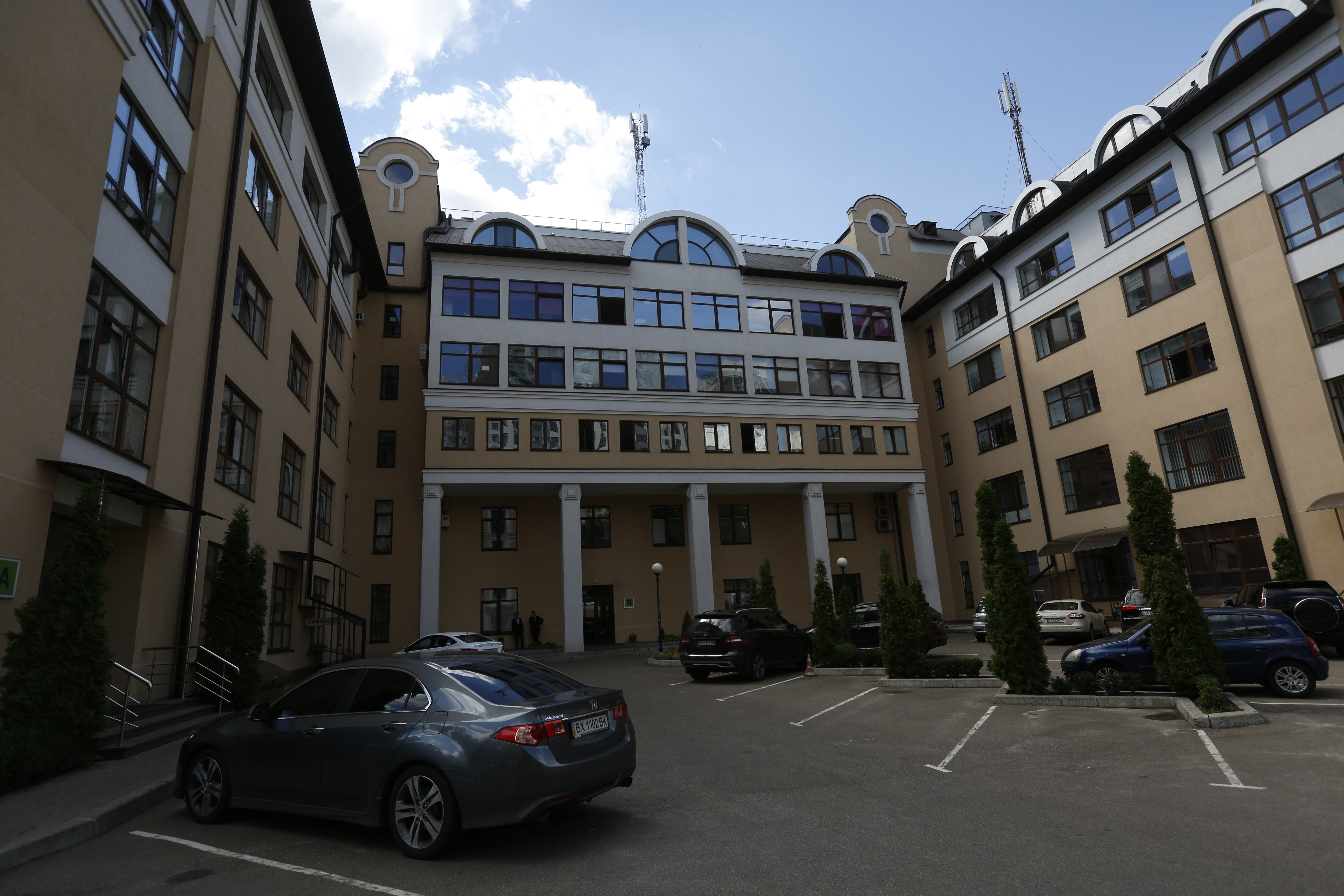 In this photo taken on Friday, July 22, 2016, in Kiev, Ukraine an apartment complex housing among others the Ukrainian anti-doping agency ( National Anti-Doping Center). While the scandal of Russian doping threatens to be one of the main talking points of