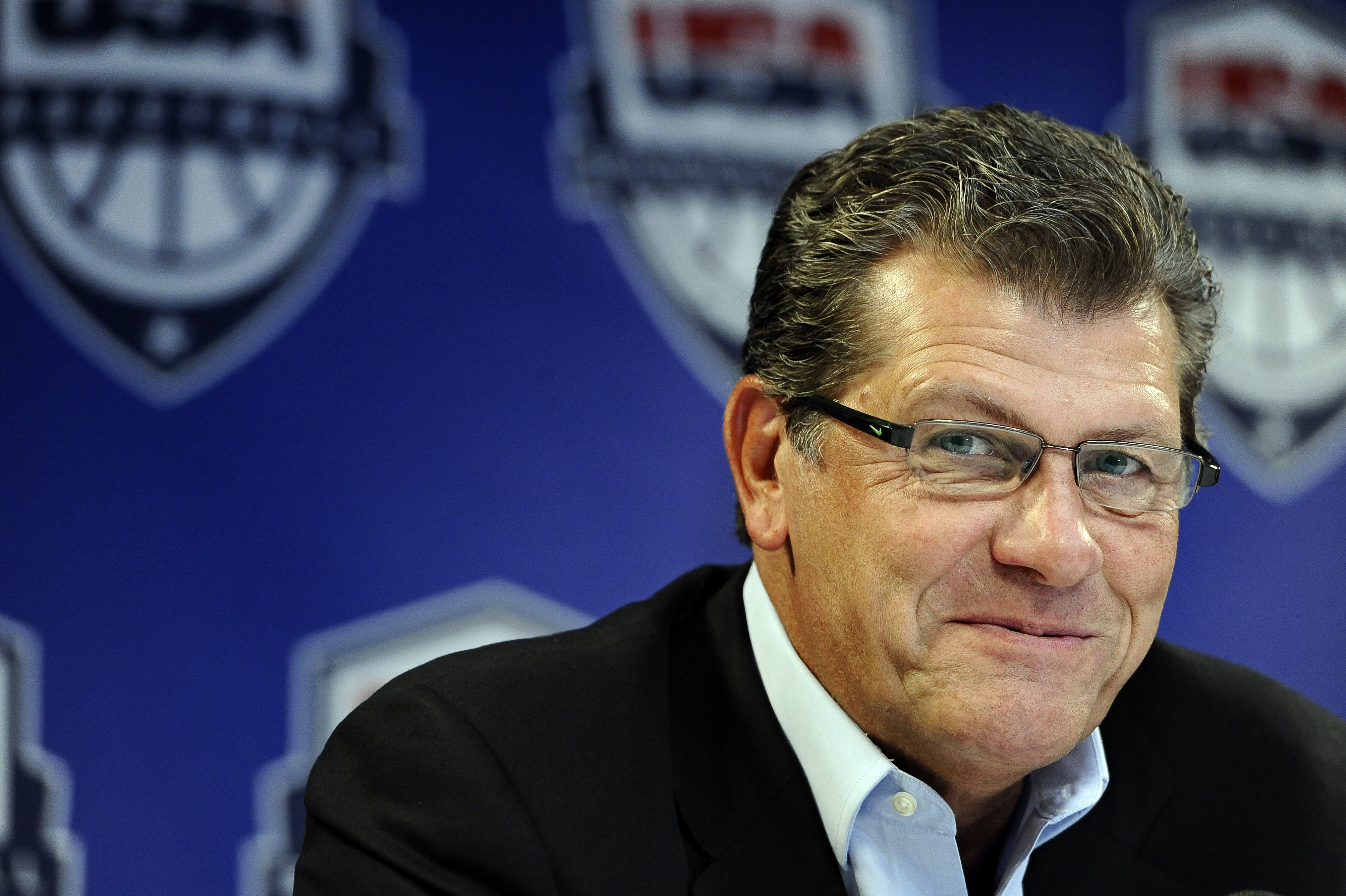FILE - In this Sept. 6, 2013, file photo, Connecticut head coach Geno Auriemma speaks during a news conference announcing he will head the U.S. women's basketball team at the 2016 Rio de Janeiro Olympics, in Storrs, Conn. No team has been more dominant at