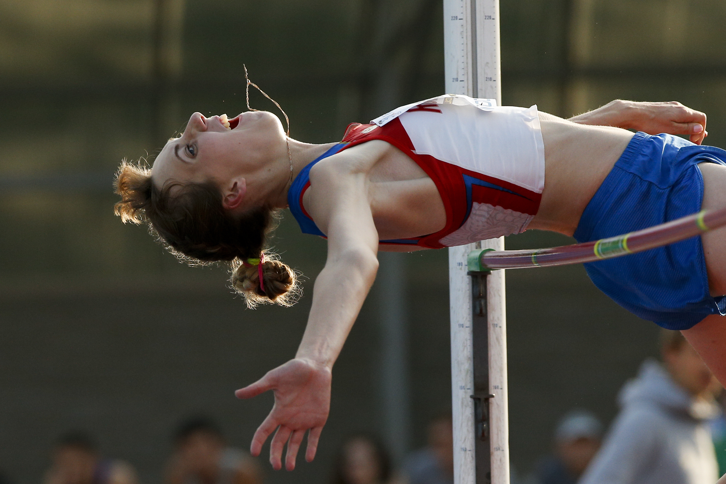 Natalya Aksyonova makes an attempt in the women's high jump during the Russian Stars 2016 track and field competitions in Moscow, Russia, Thursday, July 28, 2016. Aksyonova is among the more than 100 athletes who have been barred from competing in the Rio