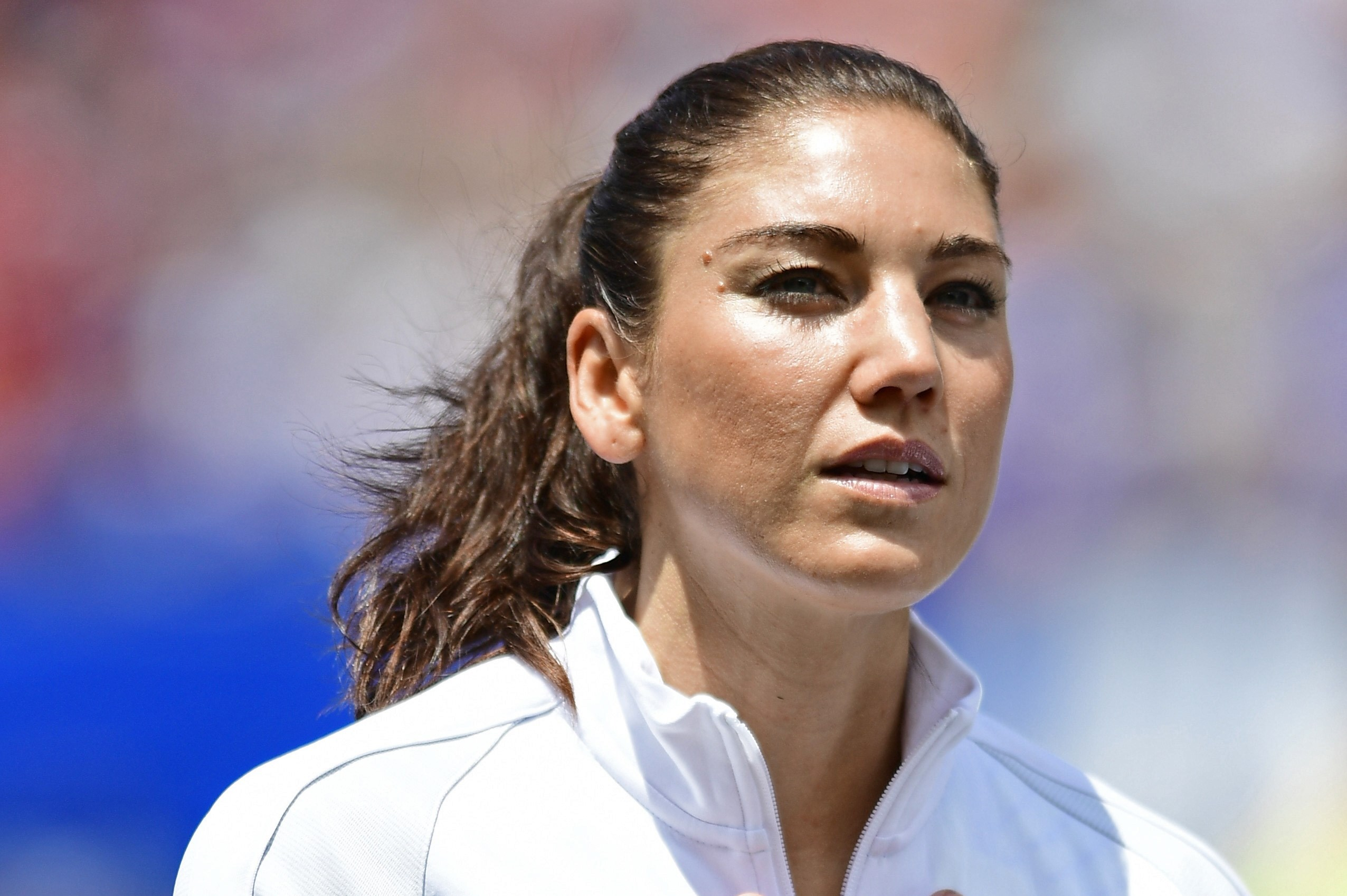 United States goal keeper Hope Solo stands for the national anthem before the start of an international friendly soccer match against Japan, Sunday, June 5, 2016, in Cleveland, Ohio. The United States won 2-0. (AP Photo/David Dermer)