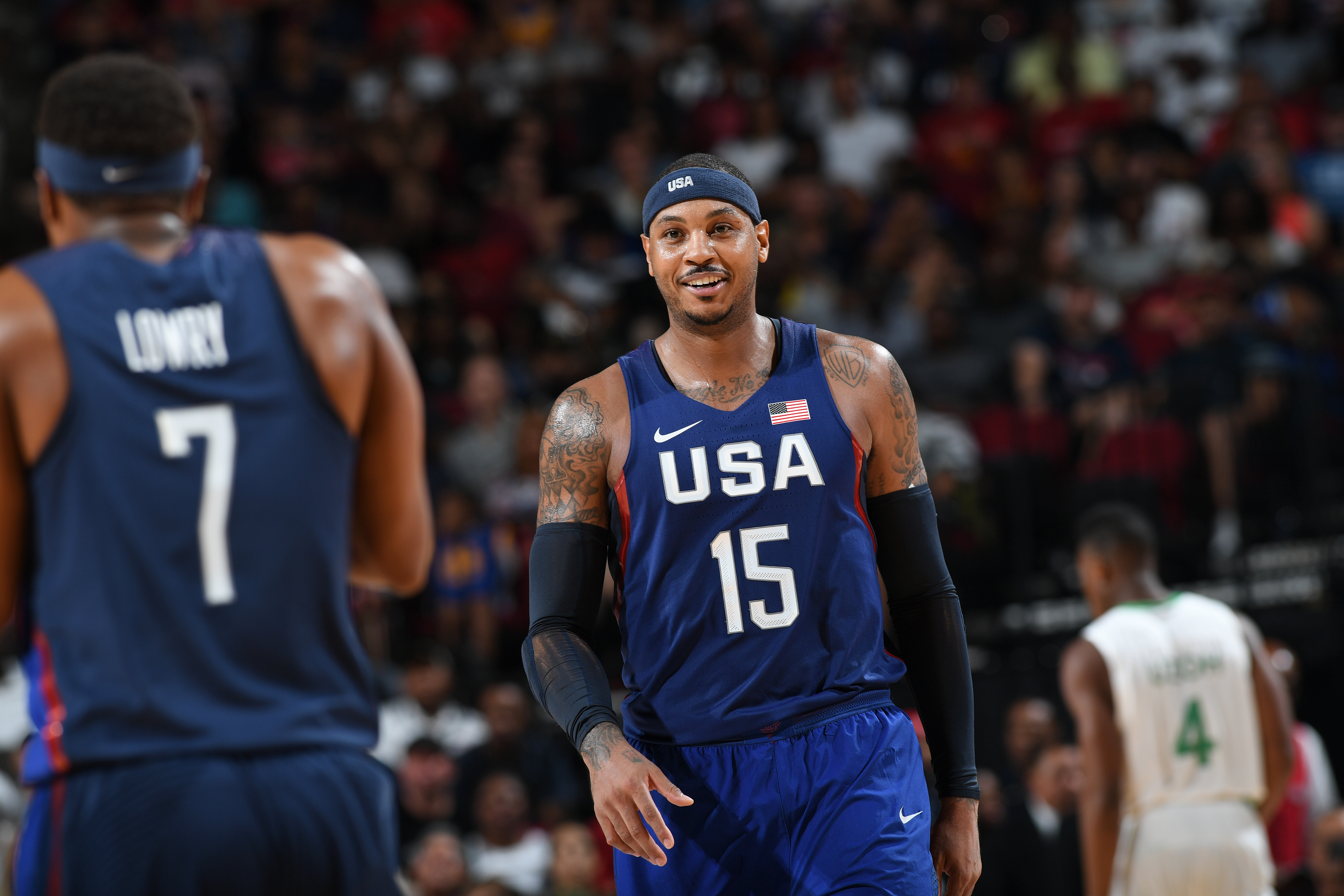 HOUSTON, TX - AUGUST 1:  Carmelo Anthony #15 of the USA Basketball Men's National Team looks on during the game against Nigeria on August 1, 2016 at the Toyota Center in Houston, Texas. (Photo by Garrett Ellwood/NBAE via Getty Images)