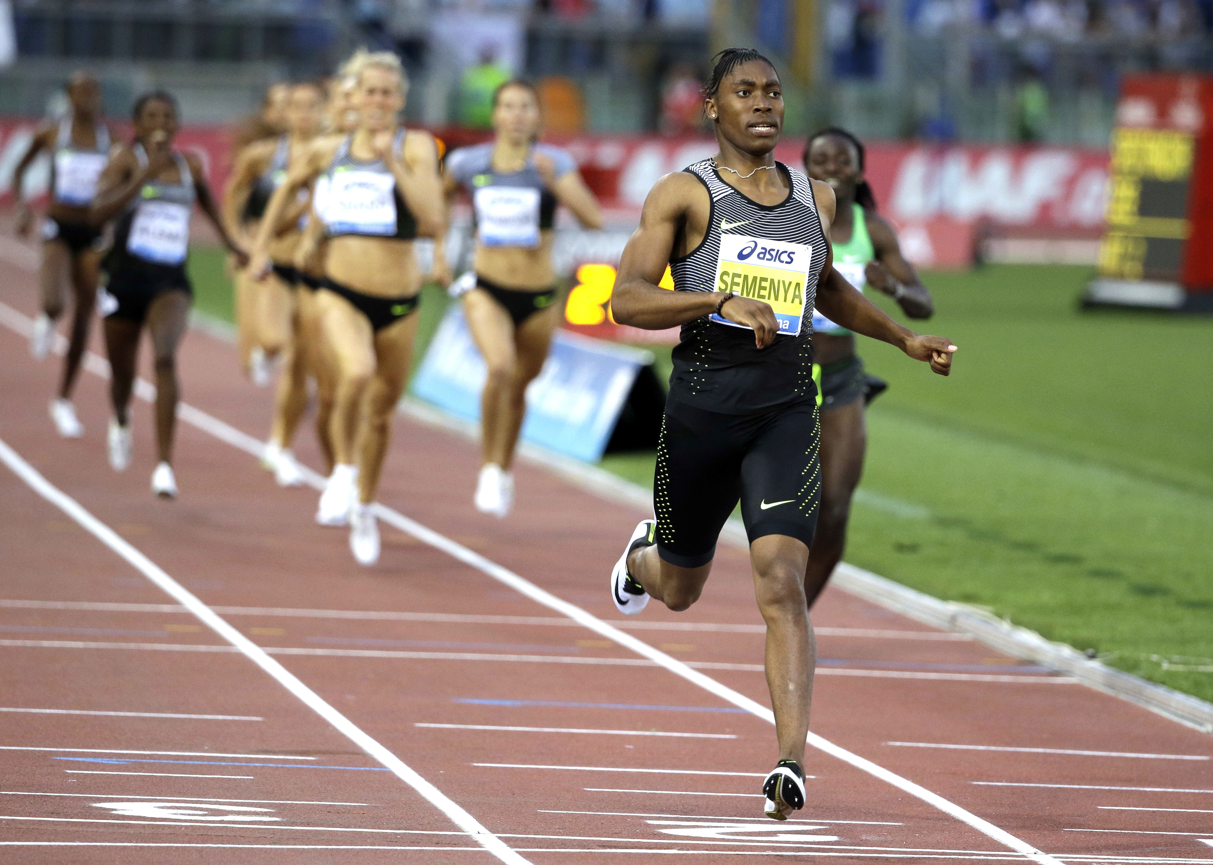 FILE - In this June 2, 2016, file photo, South Africa's Caster Semenya crosses the finish line after winning the the women's 800m event at the Golden Gala IAAF athletic meeting, in Rome's Olympic stadium. It seems the sports world just doesnt know what to