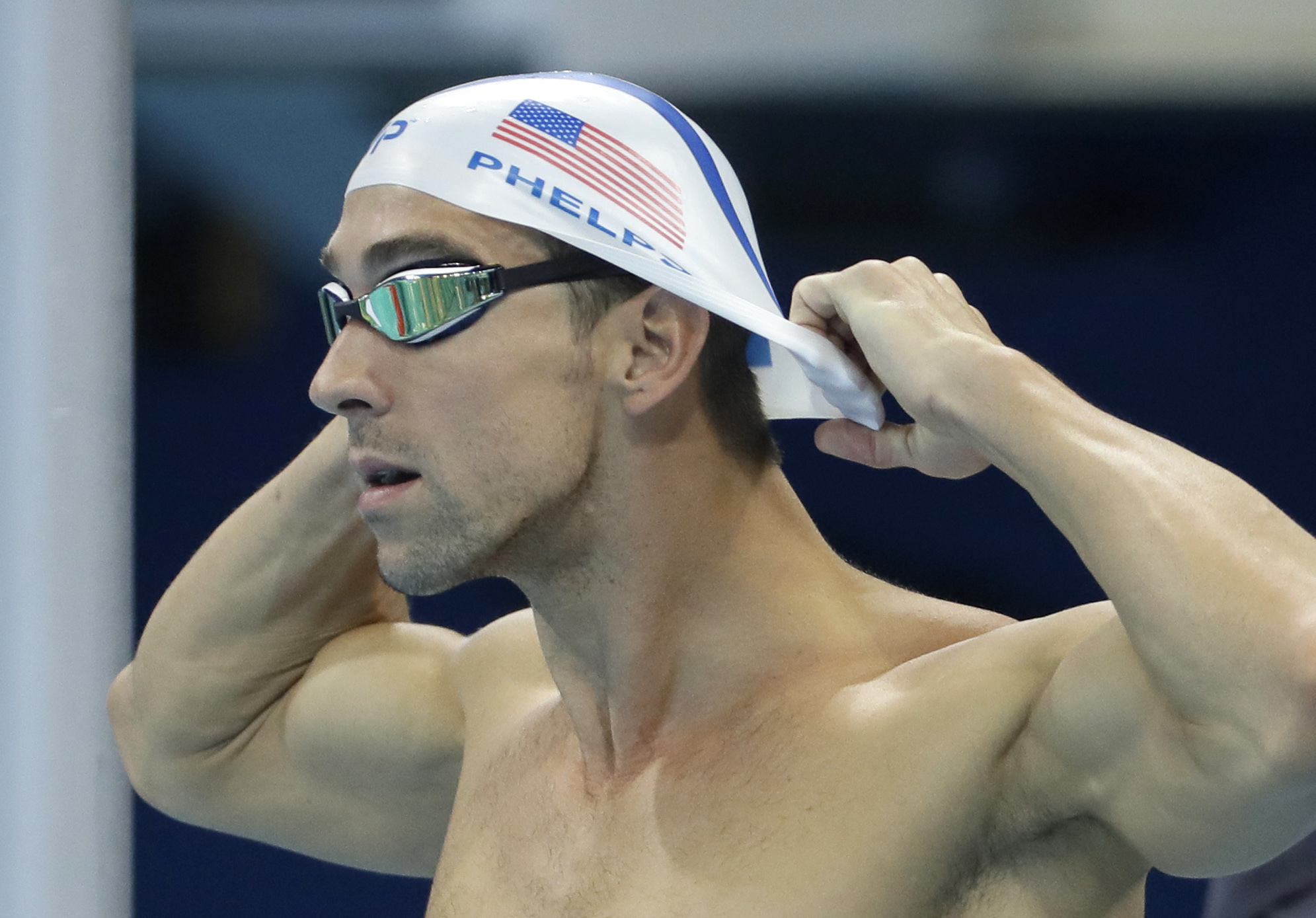 United States' Michael Phelps prepares a swimming training session at the 2016 Summer Olympics in Rio de Janeiro, Brazil, Tuesday, Aug. 2, 2016. (AP Photo/Matt Slocum)
