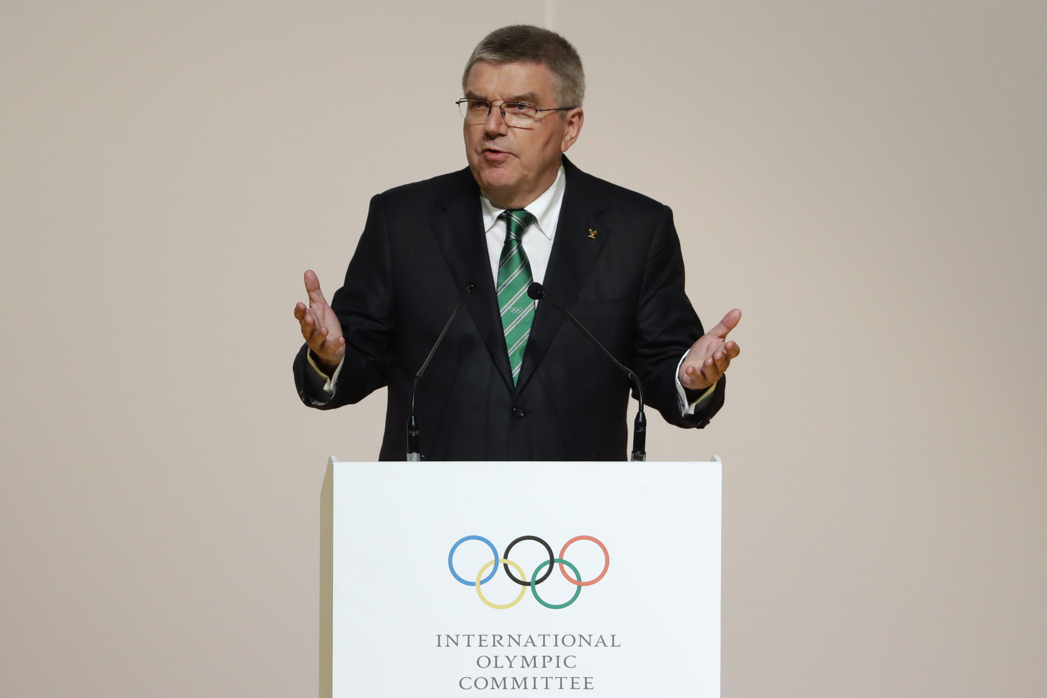 International Olympic Committee President Thomas Bach speaks during the Opening Ceremony of the IOC Session at the 2016 Summer Olympics at the Cidade das Artes in Rio de Janeiro, Brazil, Monday, Aug. 1, 2016. (AP Photo/David Goldman)