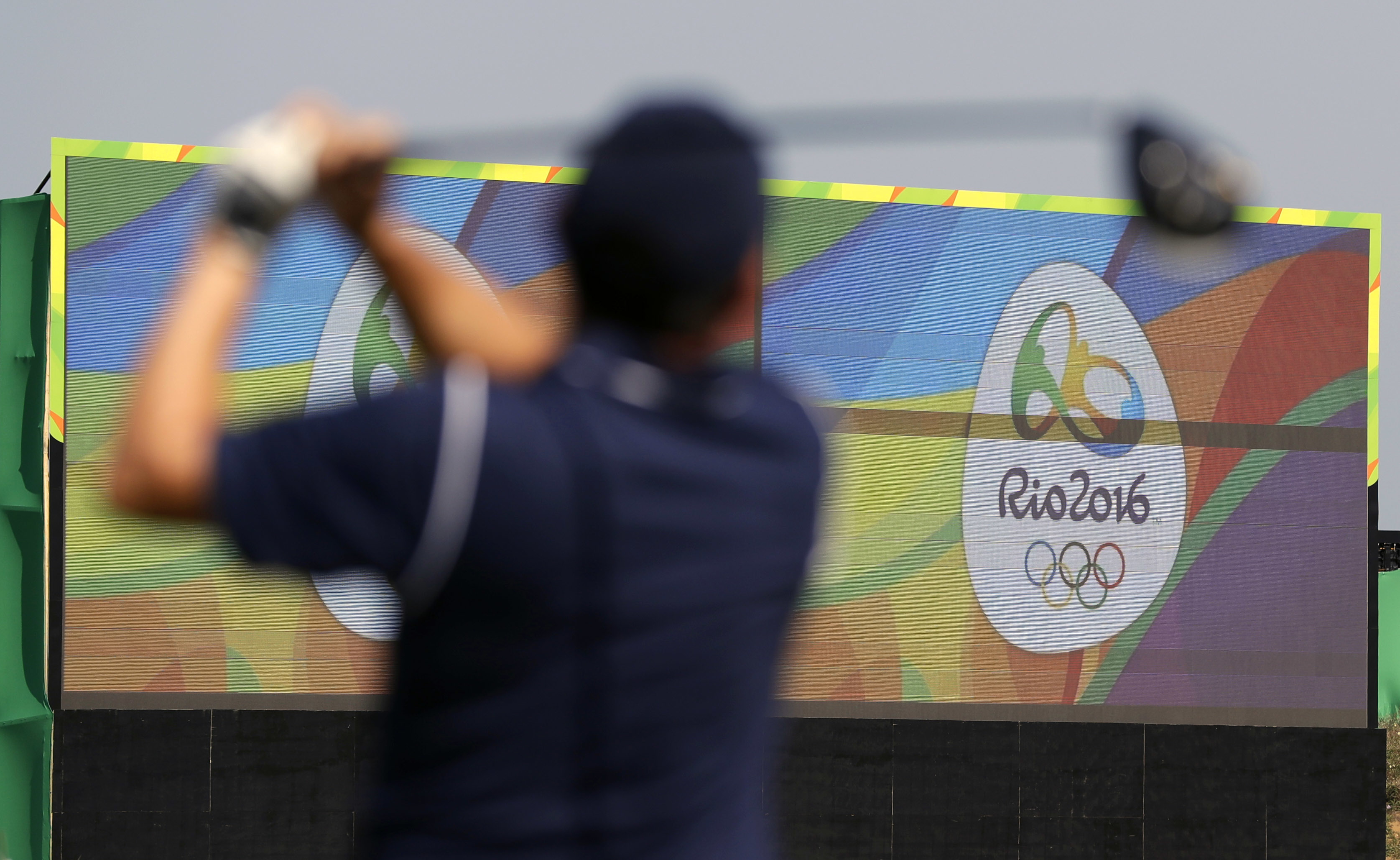 Brazil's Adilson Da Silva, hits from the first tee on the Olympic golf course during a practice round for the 2016 Summer Olympics in Rio de Janeiro, Brazil, Friday, Aug. 5, 2016. (AP Photo/Eric Gay)