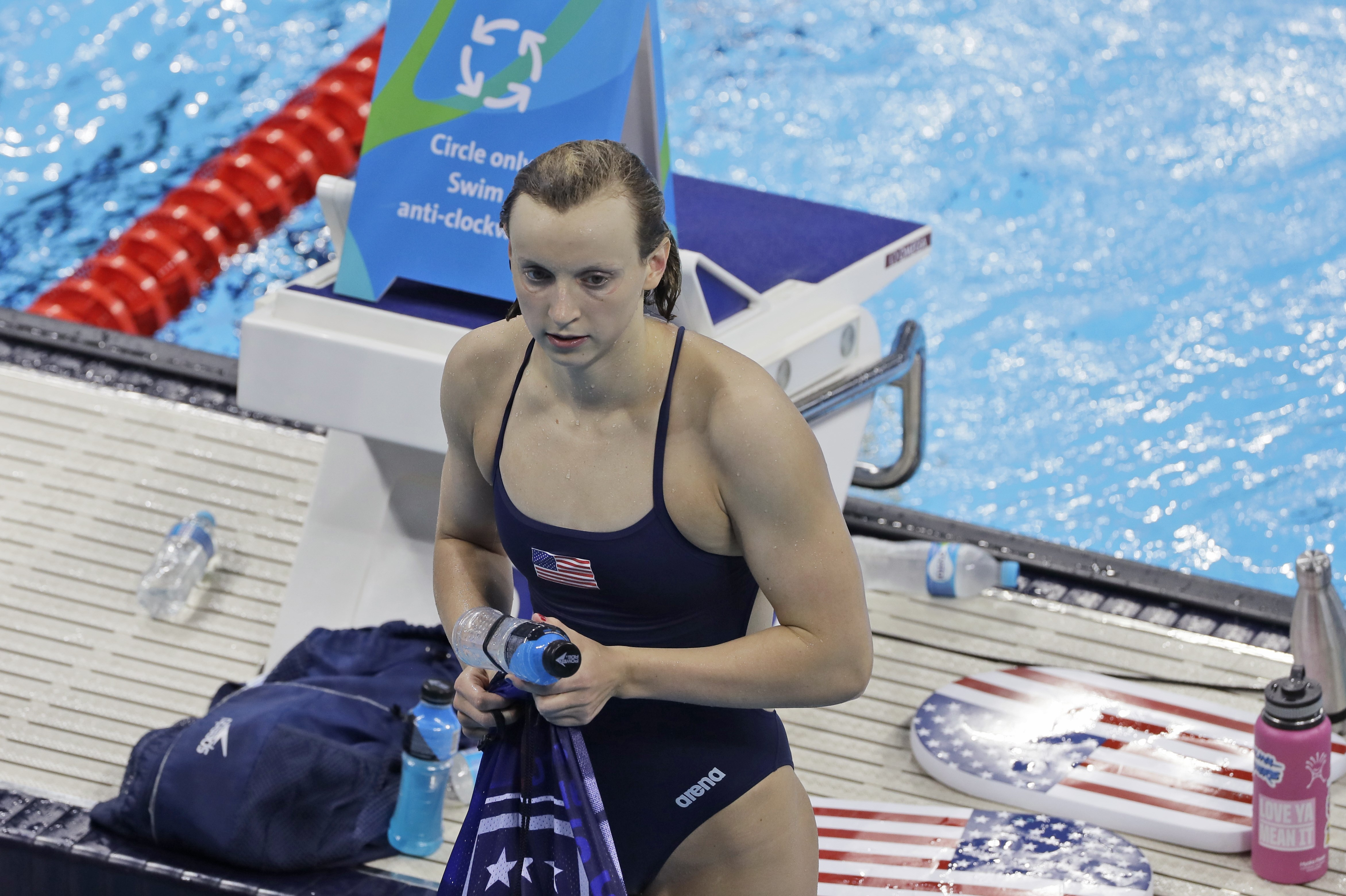 United States' Katie Ledecky leaves the pool after a swimming training session before the 2016 Summer Olympics in Rio de Janeiro, Brazil, Tuesday, Aug. 2, 2016. (AP Photo/Matt Slocum)