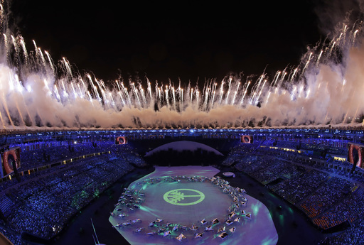 Fireworks are seen over Maracana Stadium during the opening ceremony at the 2016 Summer Olympics in Rio de Janeiro, Brazil, Friday, Aug. 5, 2016. (AP Photo/David J. Phillip)