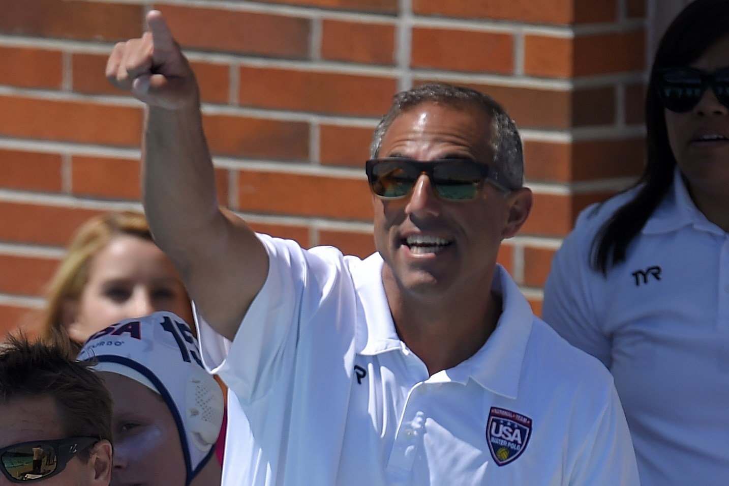 United States head coach Adam Krikorian gestures during a women's exhibition water polo match against Australia, Sunday, May 22, 2016, in Los Angeles. (AP Photo/Mark J. Terrill)