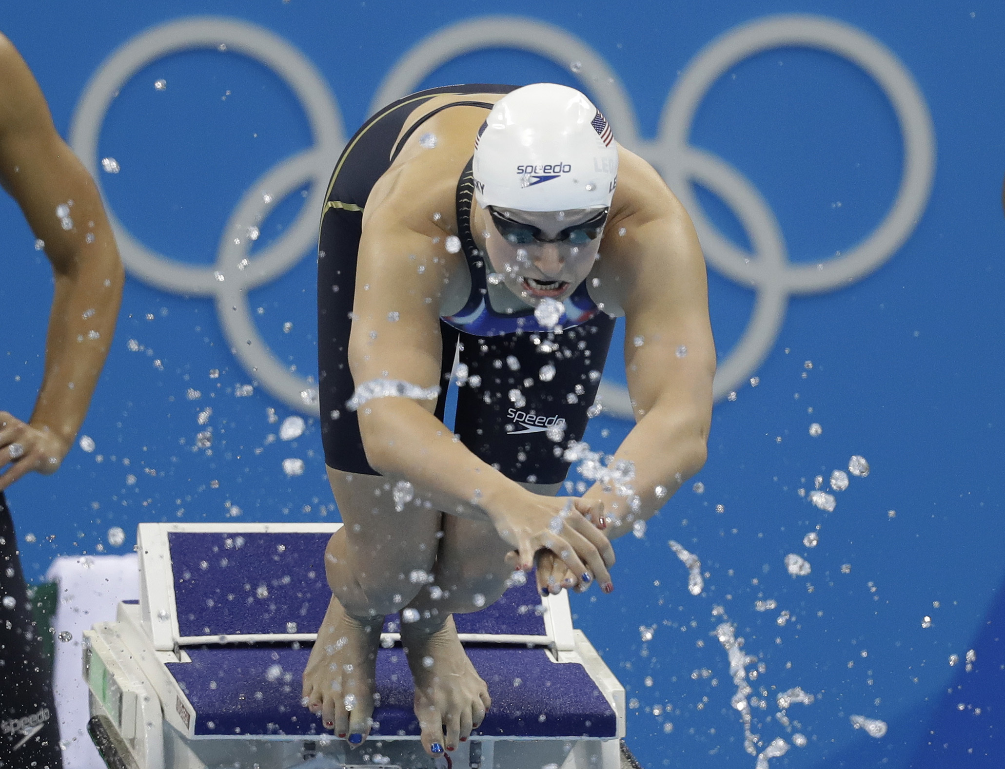 United States' Katie Ledecky starts her portion of a women's 4x100-meter freestyle relay heat during the swimming competitions at the 2016 Summer Olympics, Saturday, Aug. 6, 2016, in Rio de Janeiro, Brazil. (AP Photo/Michael Sohn)