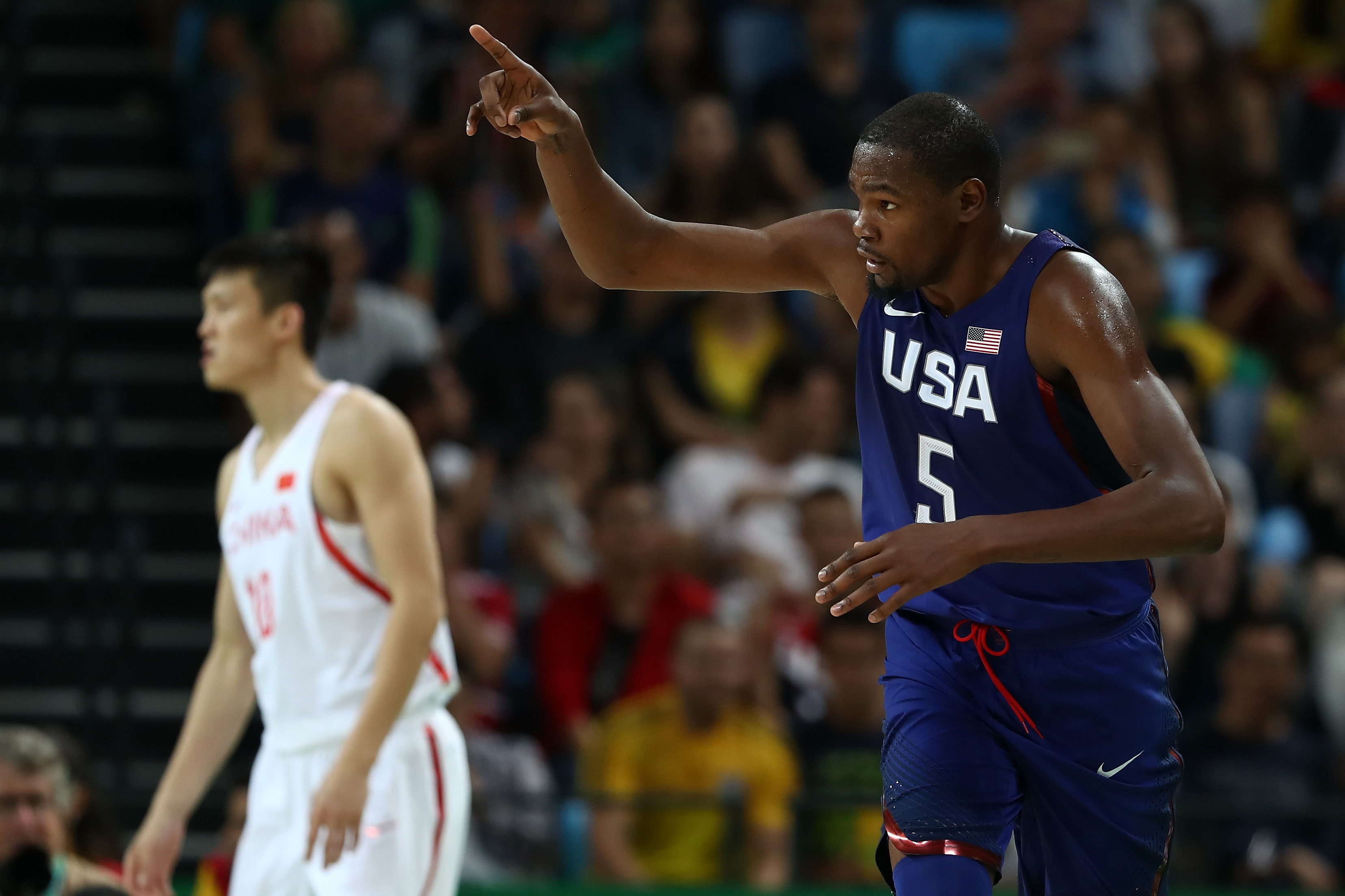 RIO DE JANEIRO, BRAZIL - AUGUST 06:  Kevin Durant #5 of United States reacts after a three point shot against China in the Men's Preliminary Round Group A match on Day 1 of the Rio 2016 Olympic Games at Carioca Arena 1 on August 6, 2016 in Rio de Janeiro,