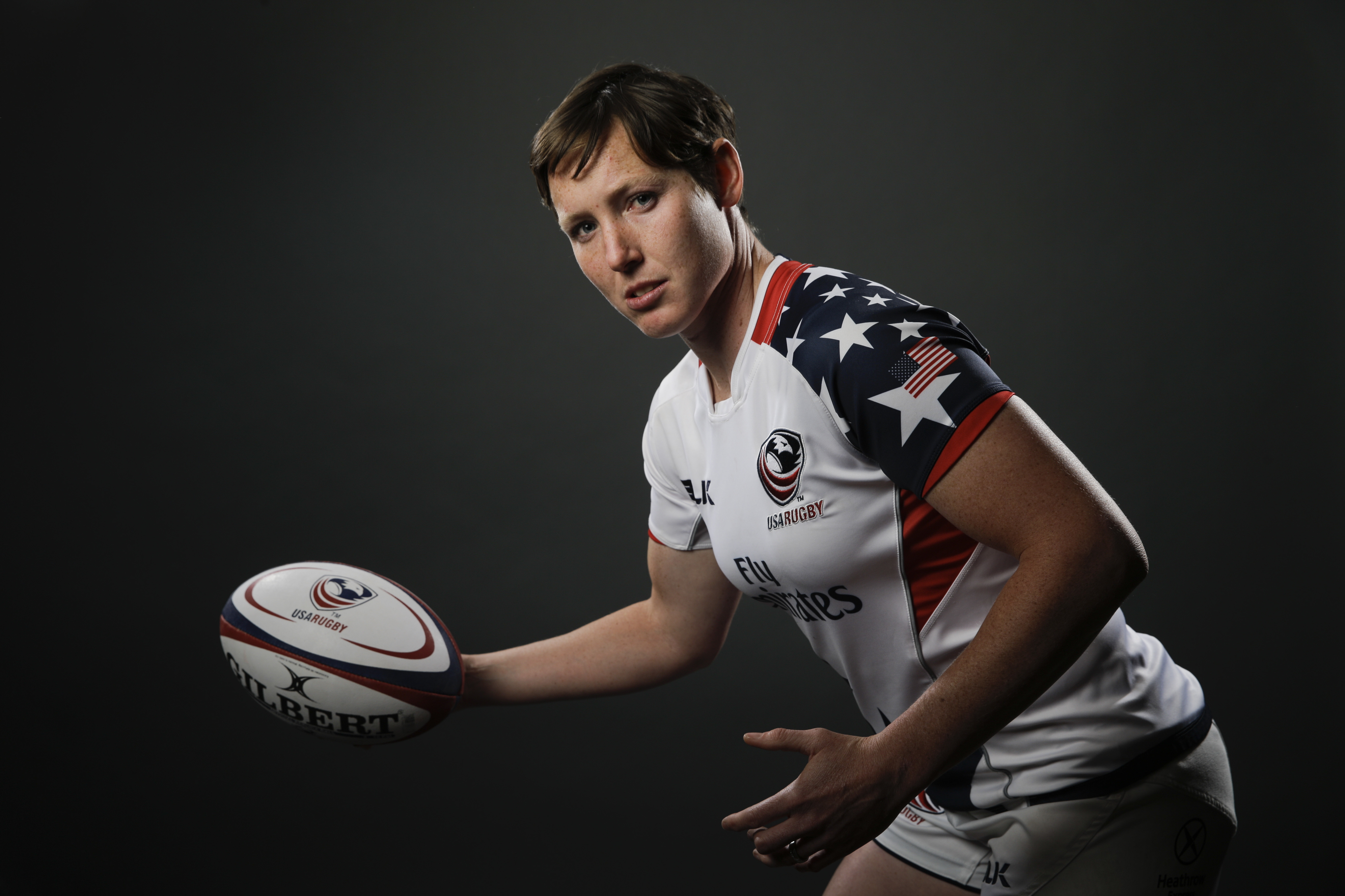 FILE - In this March 8, 2016 file photo, Rugby player Jillion Potter poses for photos at the 2016 Team USA Media Summit, in Beverly Hills, Calif.  Potter has overcome cancer and a serious neck injury to take her place in the U.S. team at the Summer Olympi