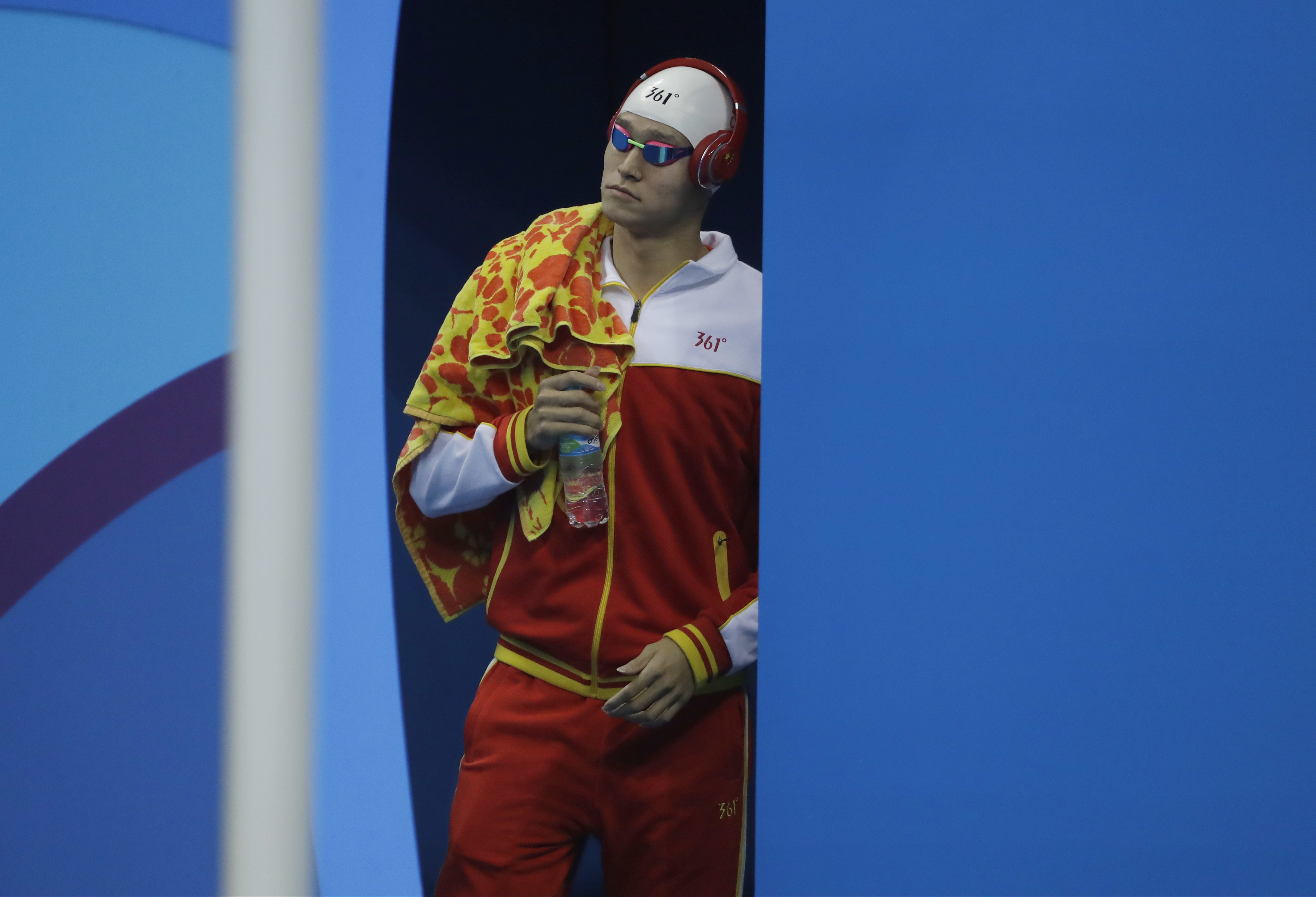 China's Sun Yang arrives for the final of the men's 400-meter freestyle during the swimming competitions at the 2016 Summer Olympics, Saturday, Aug. 6, 2016, in Rio de Janeiro, Brazil. (AP Photo/Matt Slocum)